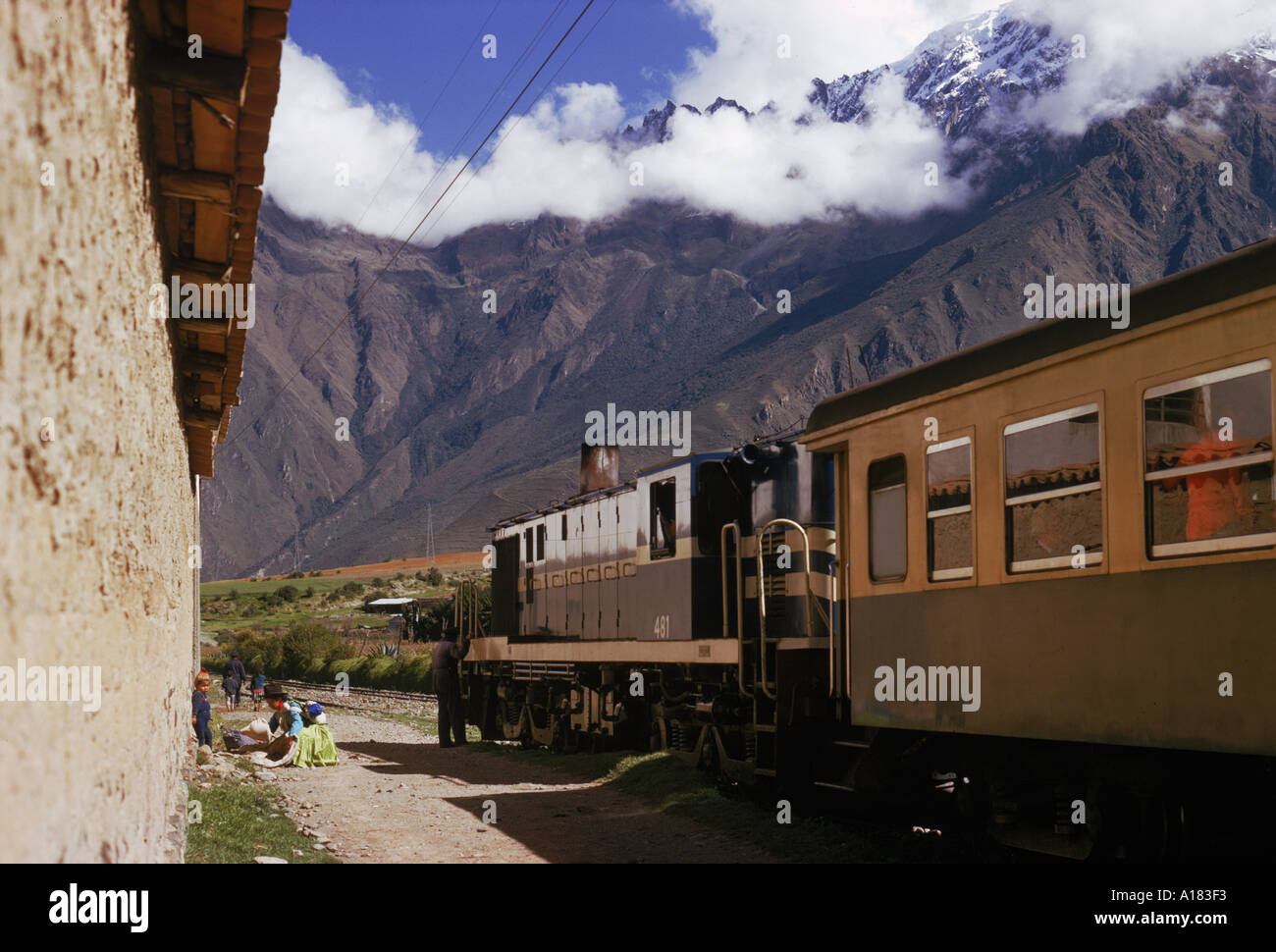 A train at a stop in the Urubamba Valley in Peru South America S Sassoon - Stock Image