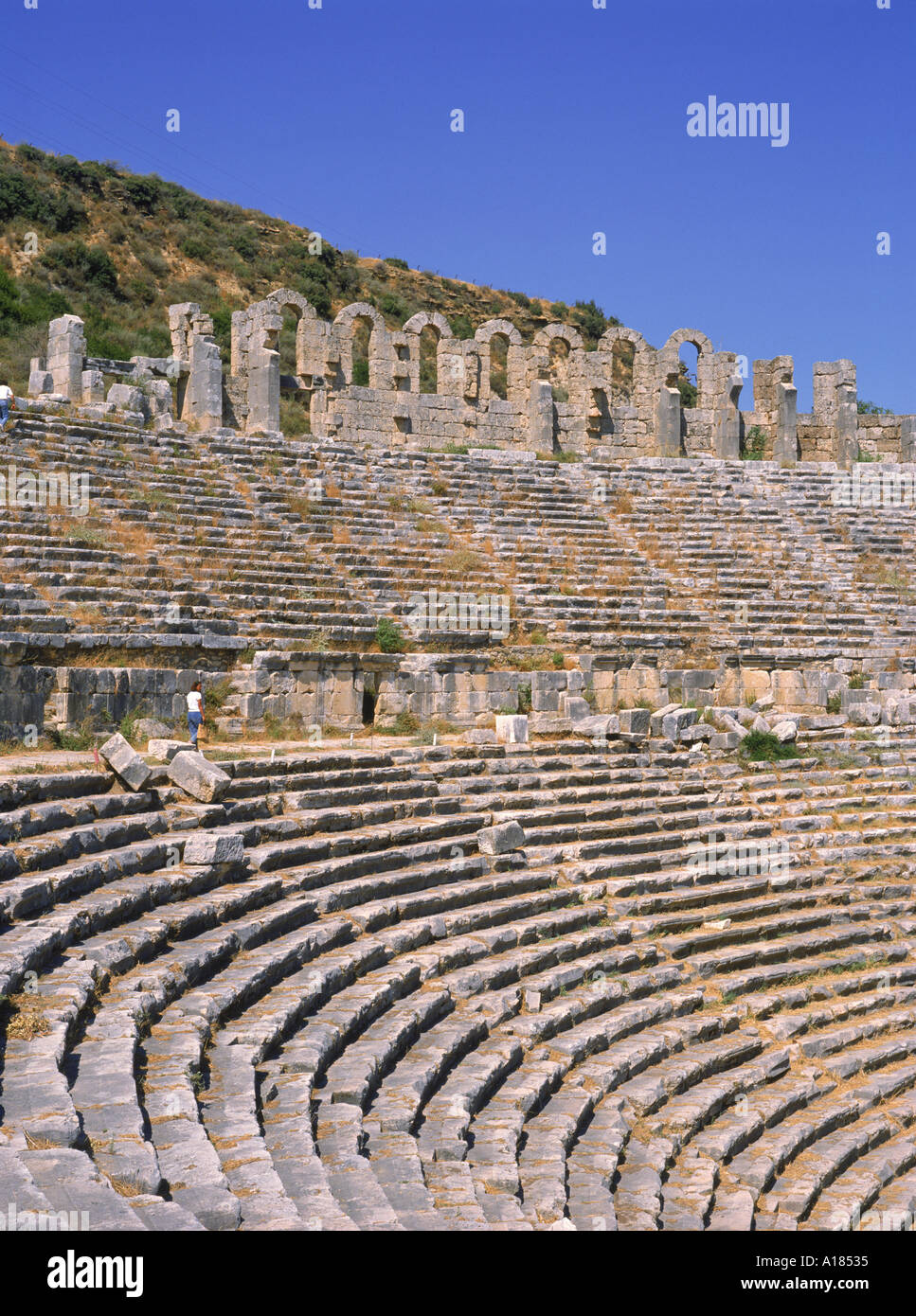The theatre at Aspendos one of the best preserved in the Roman Empire Turkey M Short - Stock Image