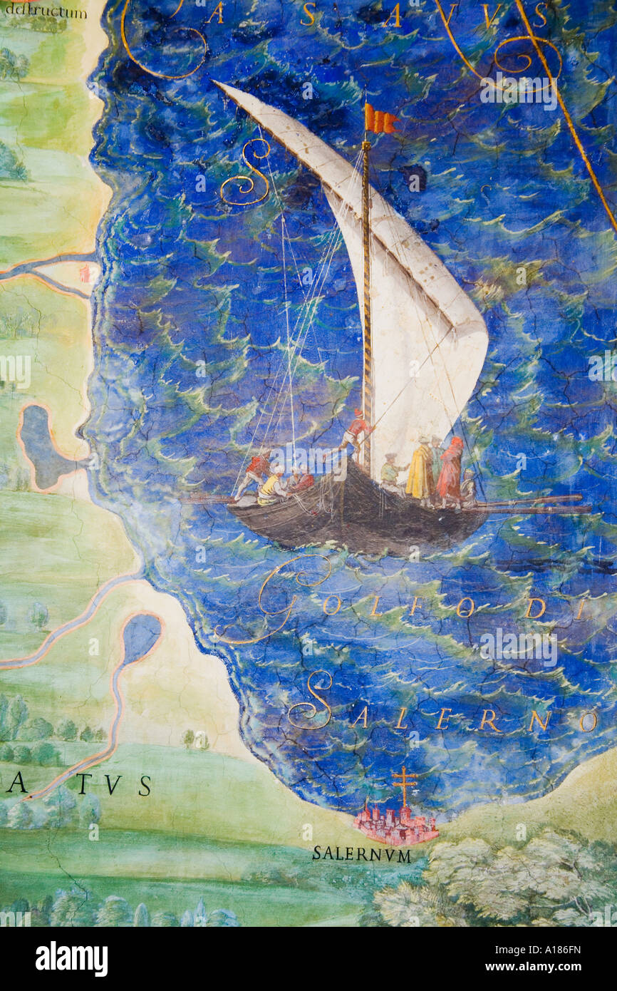 Detail of antique map of  Lucania painting in Vatican Museum 'Room of Maps' by Ignazio Danti (1536-1586) - Stock Image