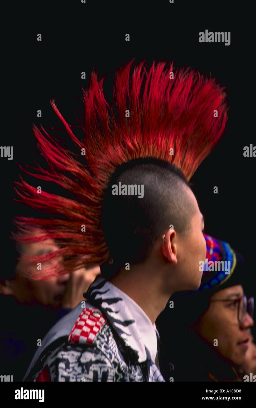 Chinese American Teenage Boy With Punk Hairstyle New York City Stock
