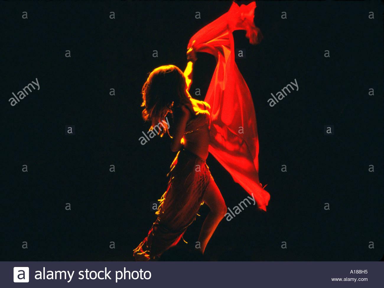 Belly dancer Turkish folklore show Club Kervansaray hotel Kusadasi Turkey - Stock Image