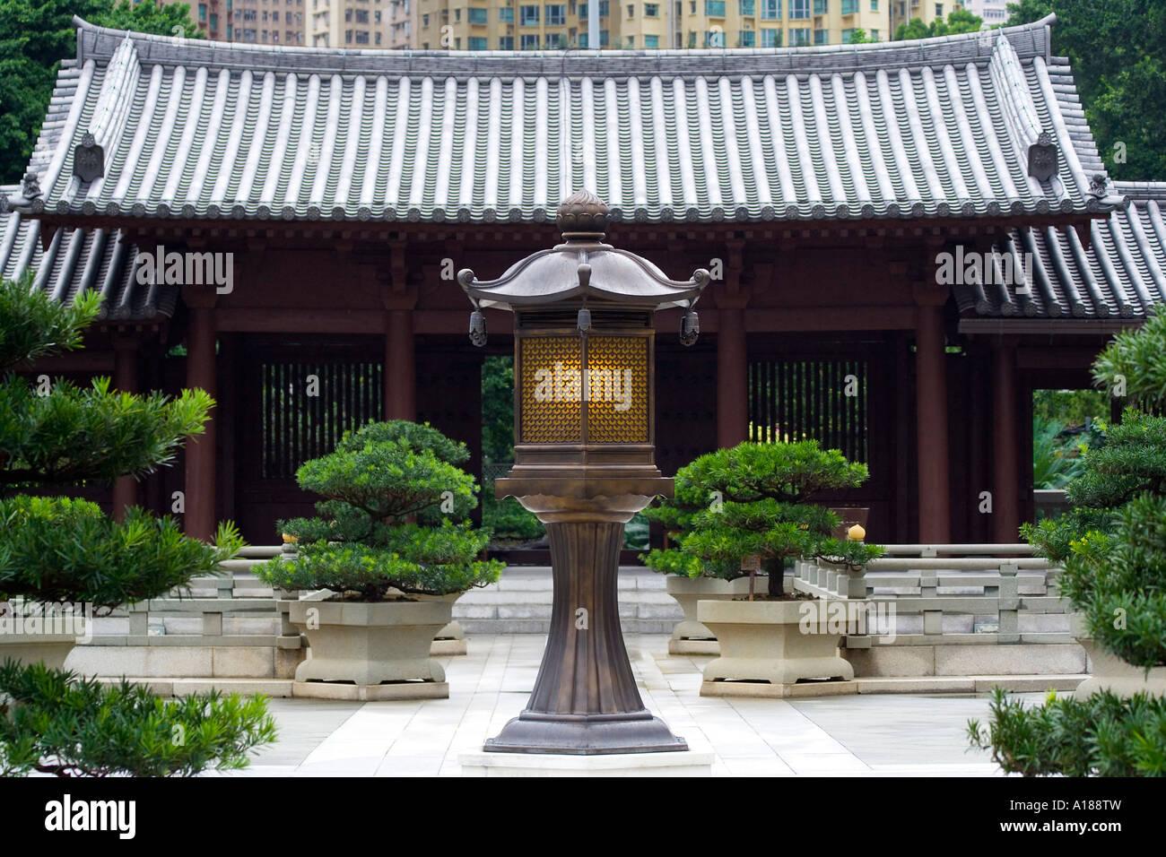 Inside Chi Lin Nunnery Hong Kong China - Stock Image