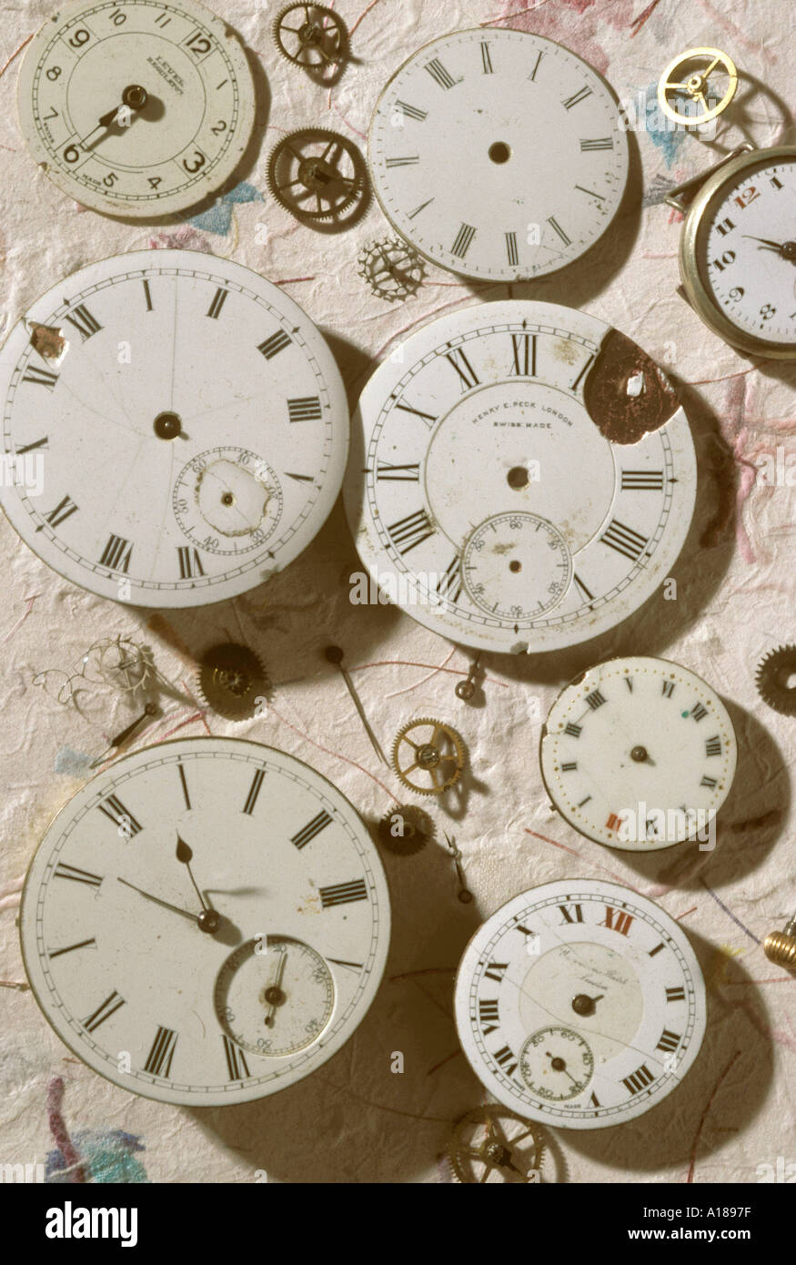 Old watch faces - Stock Image