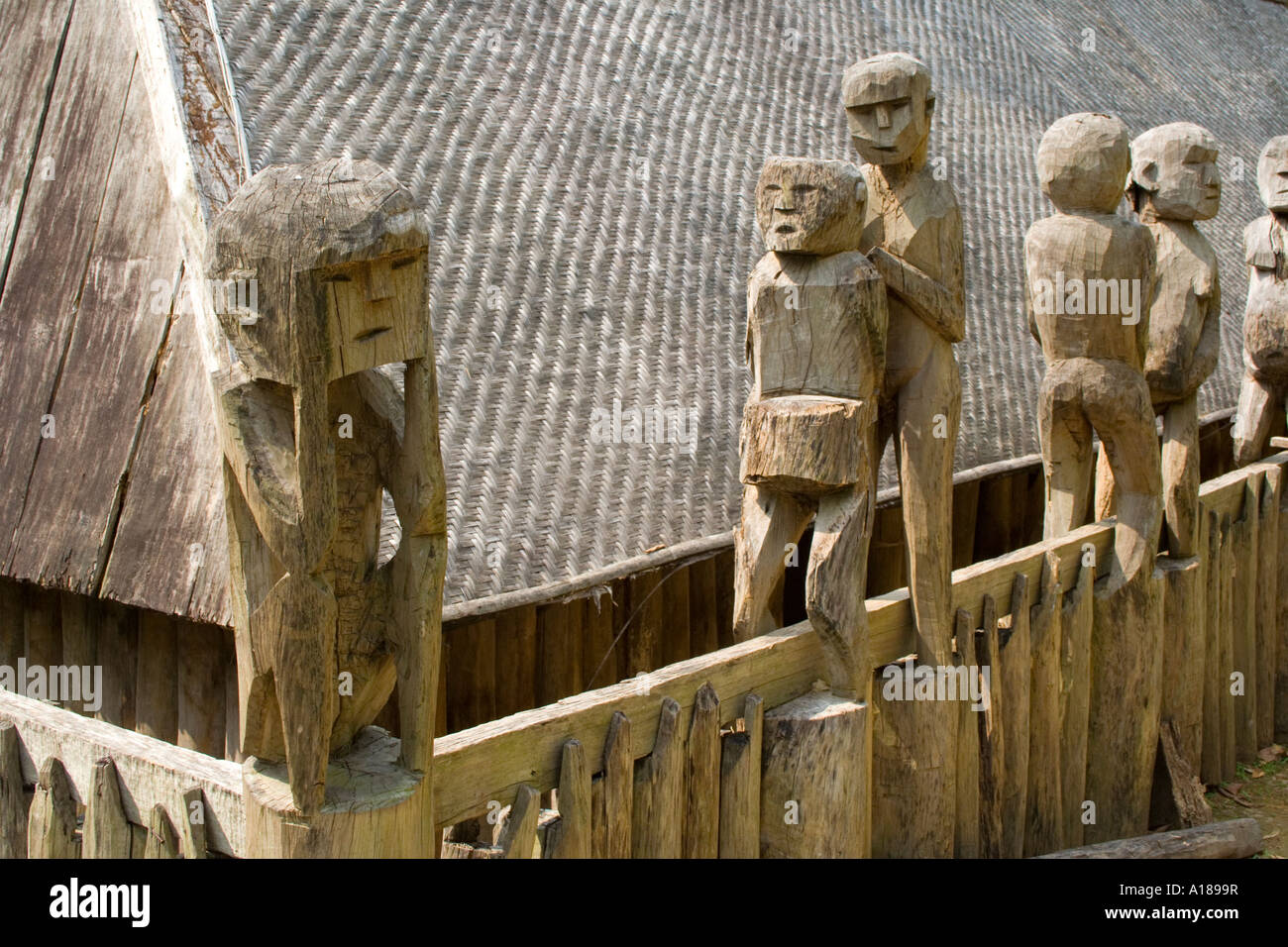 2007 Carved Wooden Statues from Ethnic Minority Tribes Vietnam Museum of Ethnology Hanoi Vietnam - Stock Image