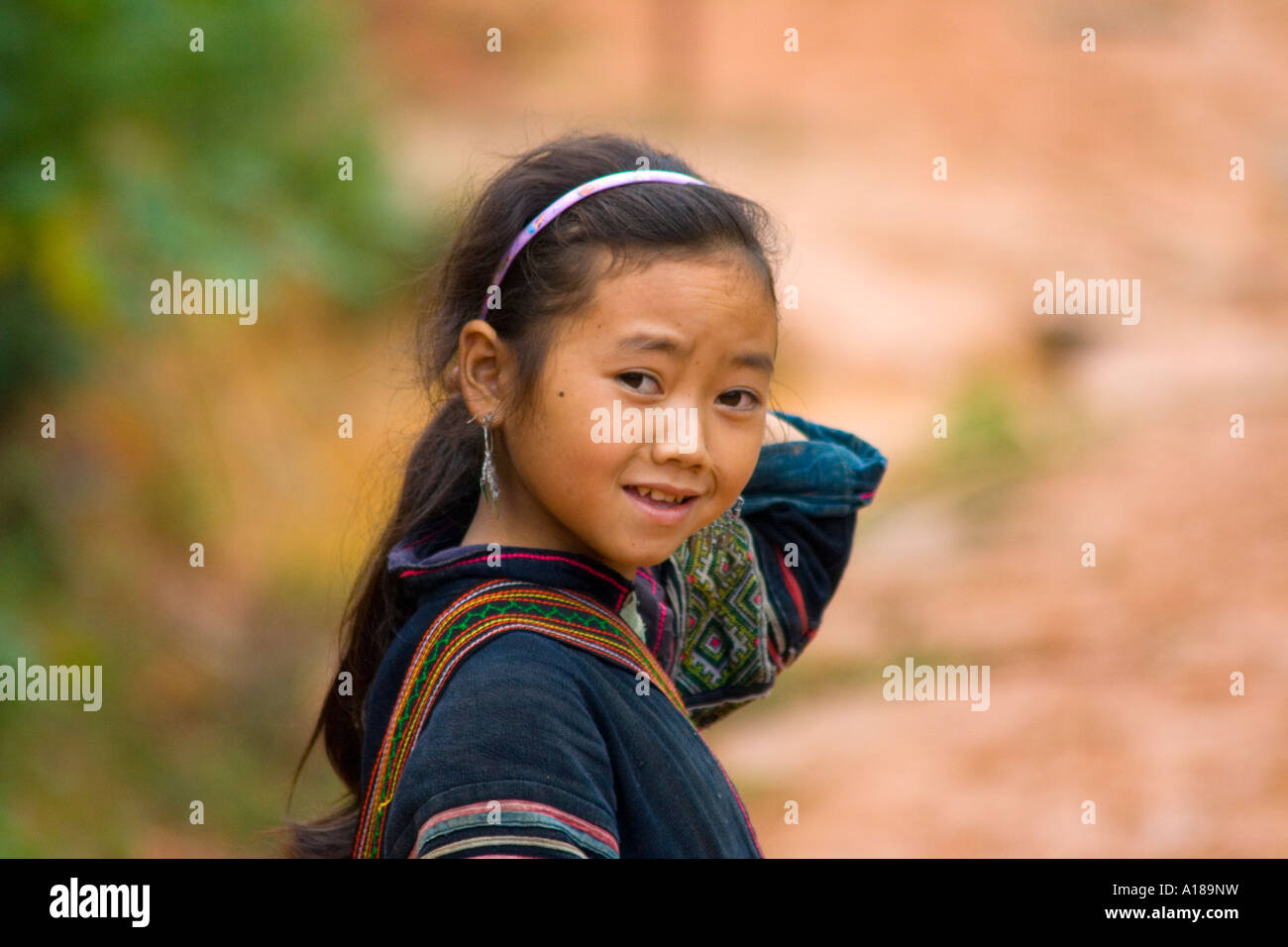 2007 Cute Young Hmong Girl in Traditional Clothing Sapa Vietnam Stock Photo