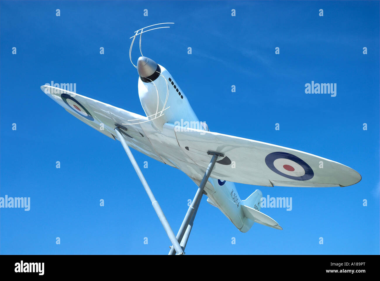 Model Of the Original Prototype Spitfire Outside Southampton Eastliegh Airport where the first ever Spitfire flight - Stock Image