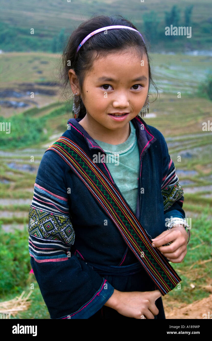 2007 Beautiful Young Girl Wearing Traditional Clothing in the Hills near Sapa Vietnam Stock Photo
