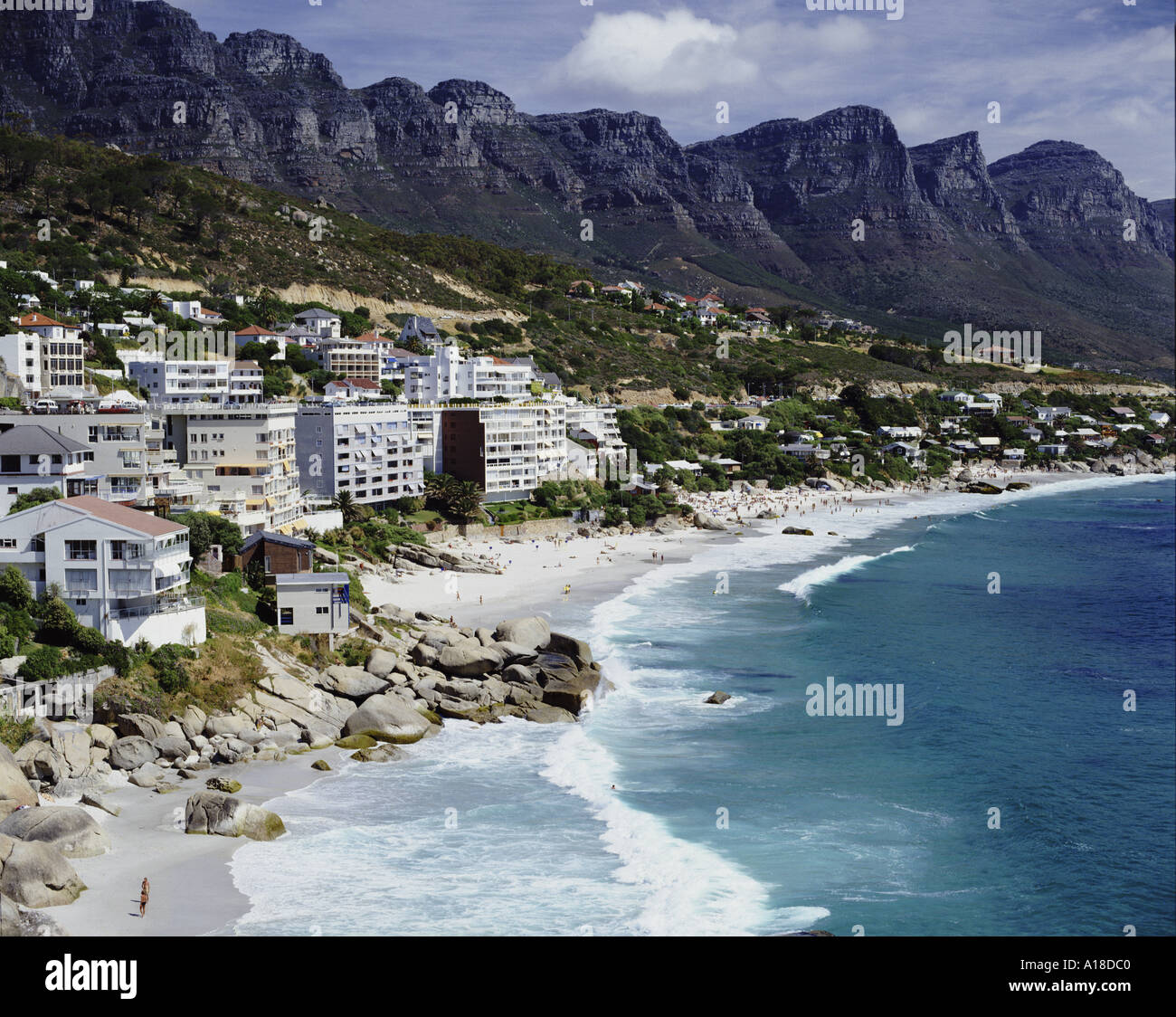 Clifton beach with the Twelve Apostles Cape Town South Africa - Stock Image