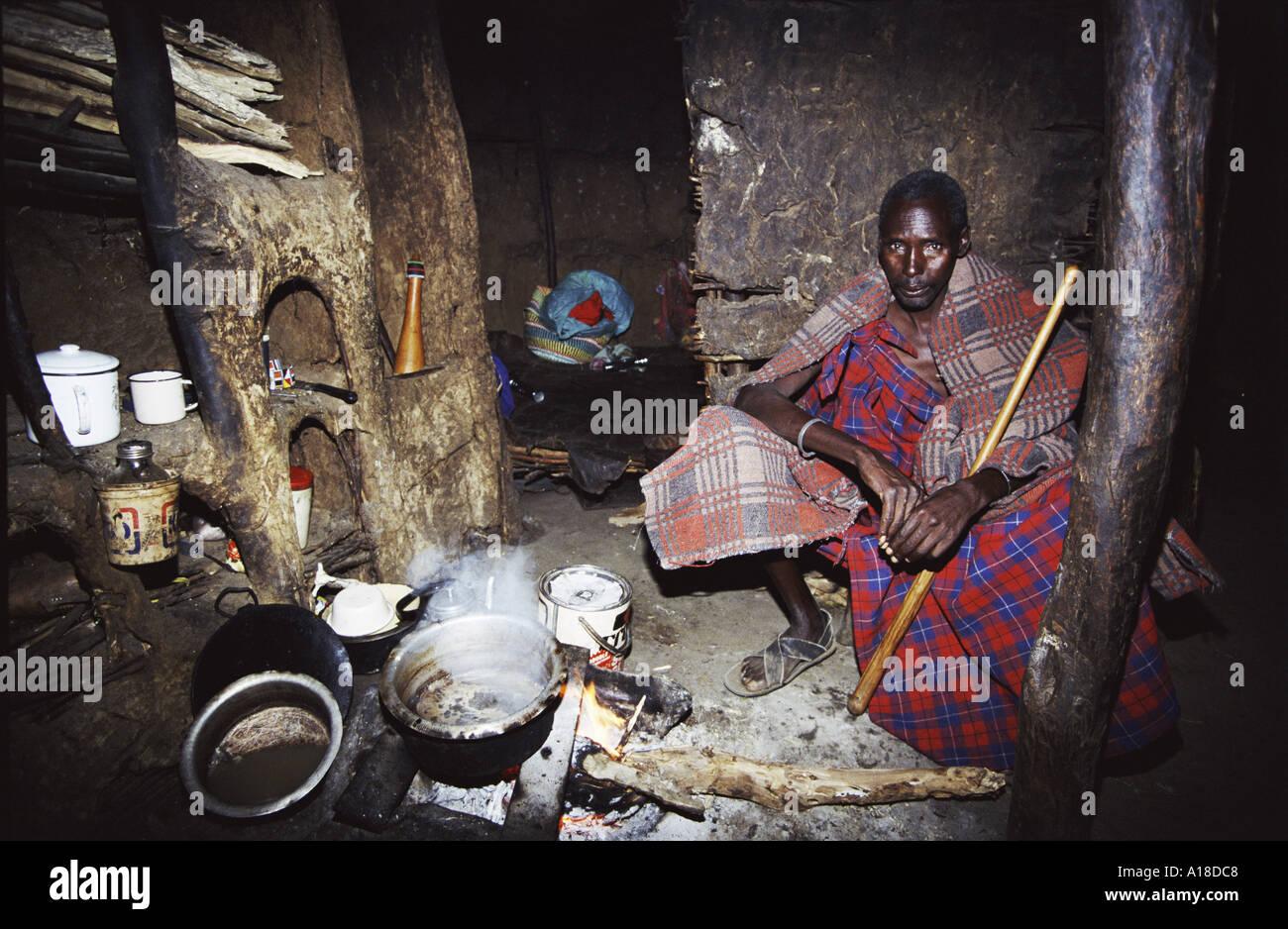 Maasai man in traditional house Kenya - Stock Image