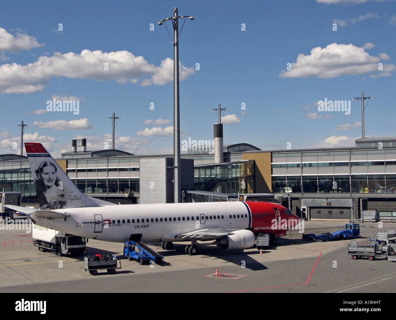 Servicing an air plane at Oslo Airport Gardermoen, OSL, located in Ullensaker, Norway Stock Photo