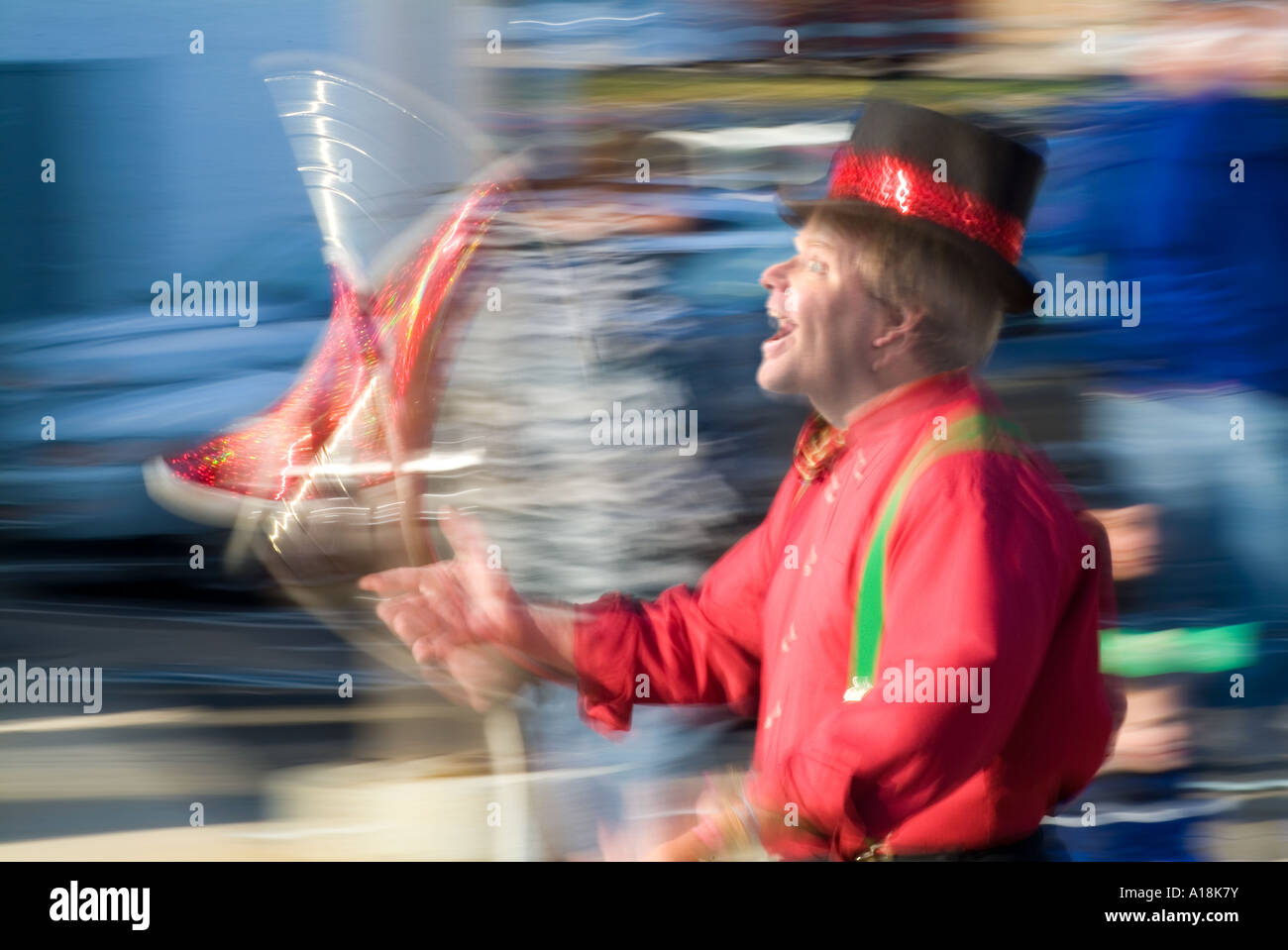 Juggler Performer Walking In A Parade With Motion Blur Showing Action And Movement, Ambler Pennsylvania USA Stock Photo