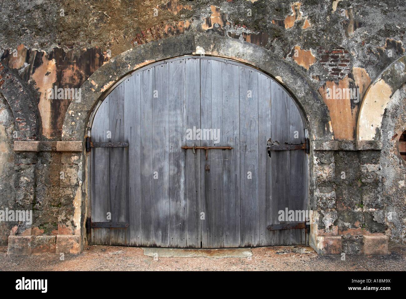 Wooden Garage Door Old Town San Juan Puerto Rico West Indies Stock