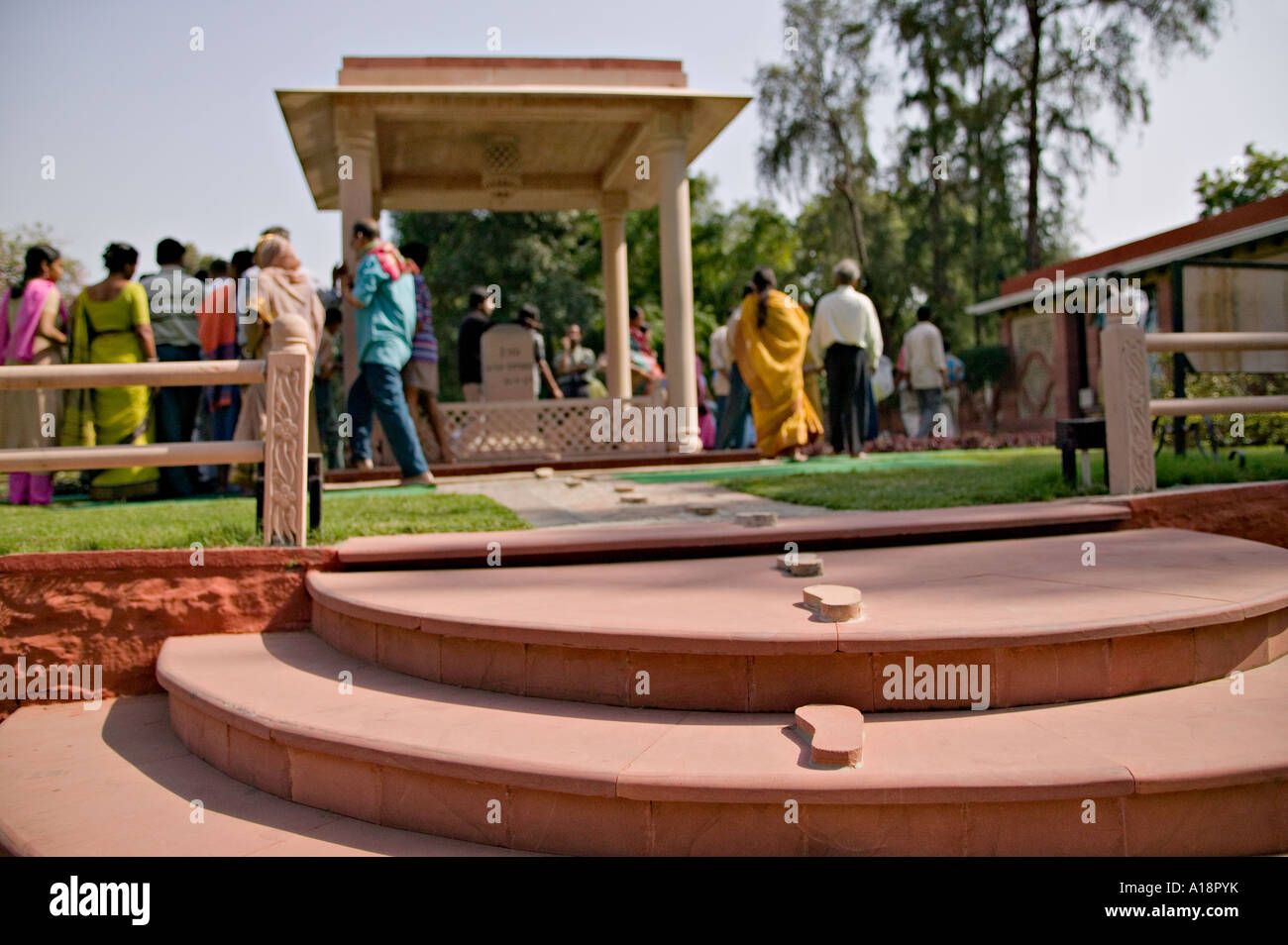 Memorial to Mahatma Gandhi's last steps on the way to his prayer ground at Gandhi Smriti, New Dehli, India - Stock Image