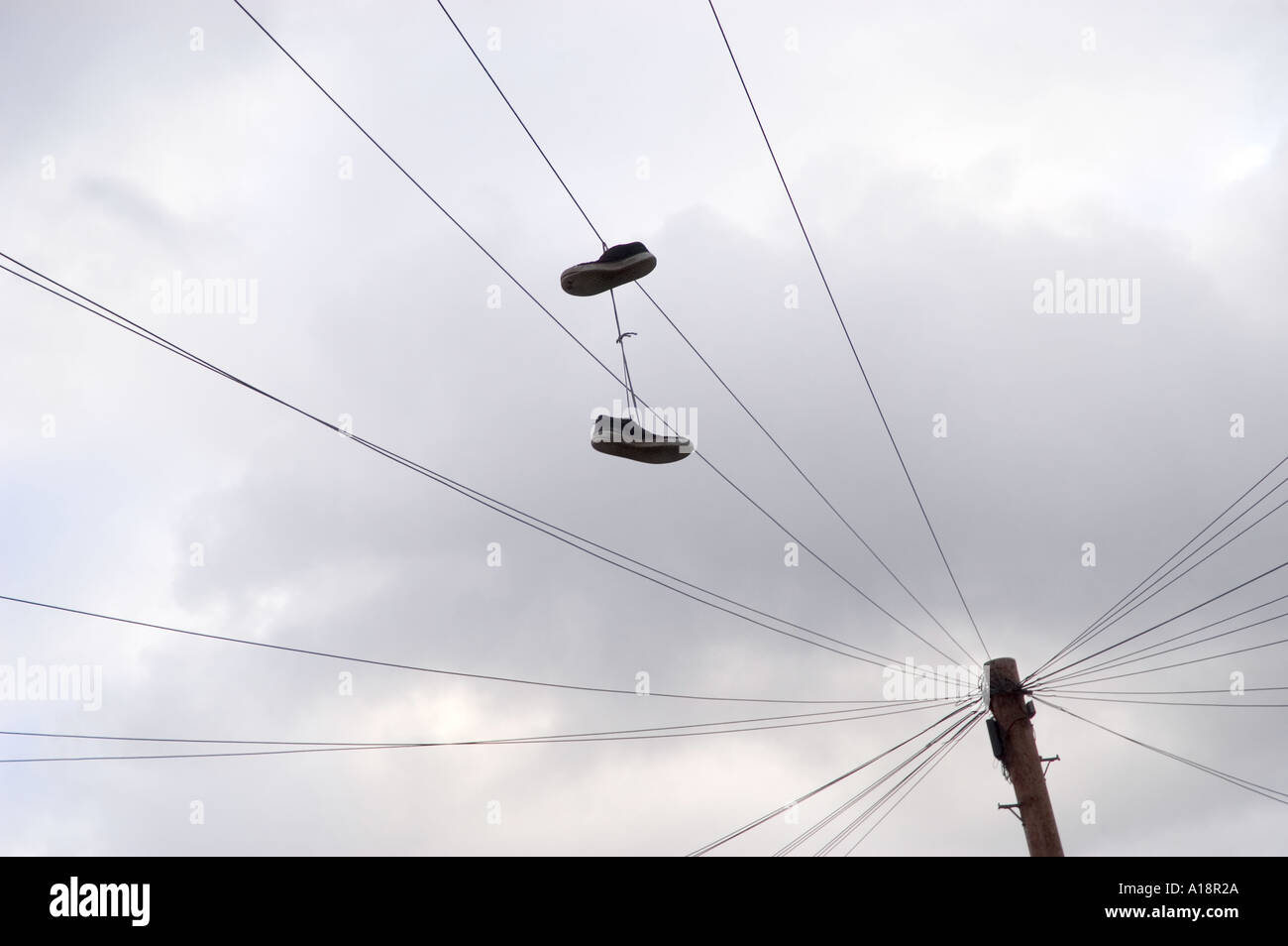 Trainers hanging from a telephone wire Stock Photo: 3323689 - Alamy