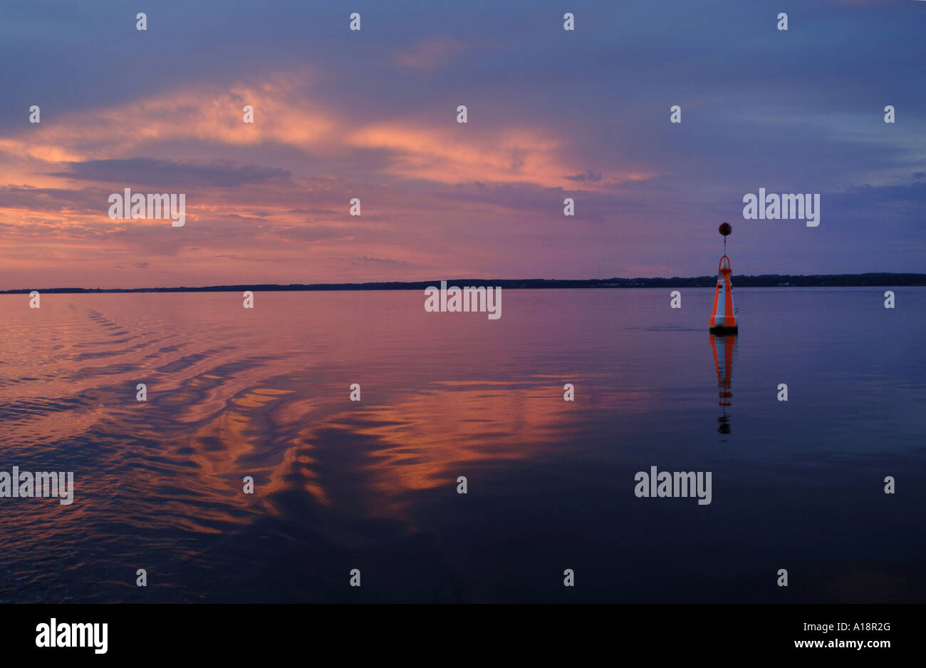 Buoy in the fjord between Sjaelland and Falster islands in Denmark - Stock Image