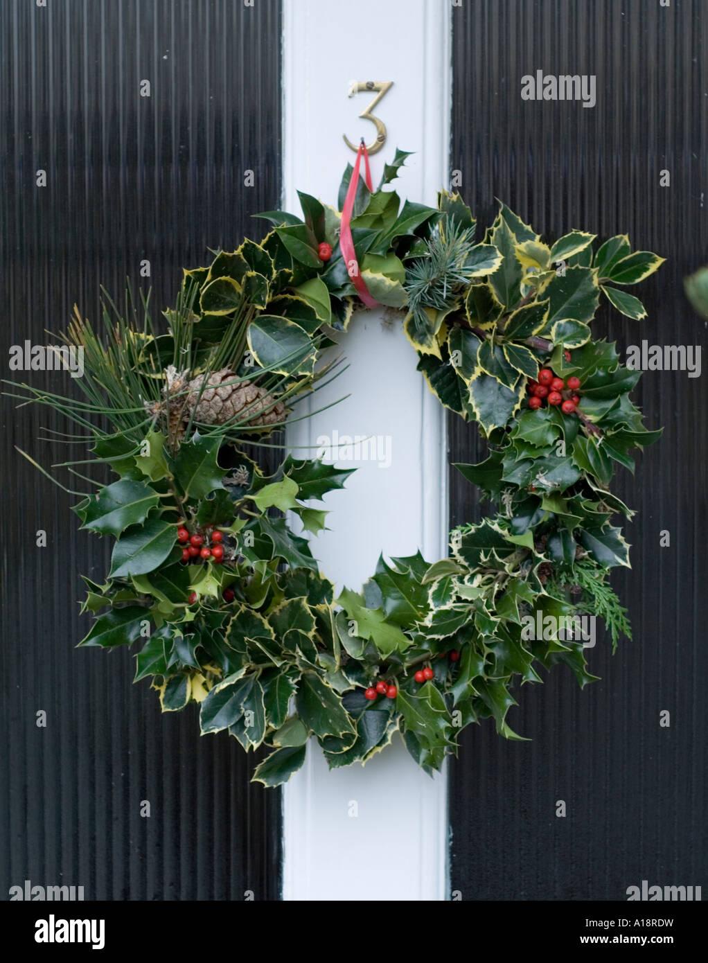 England Uk Christmas Wreath On A Front Door Stock Photo 10181076