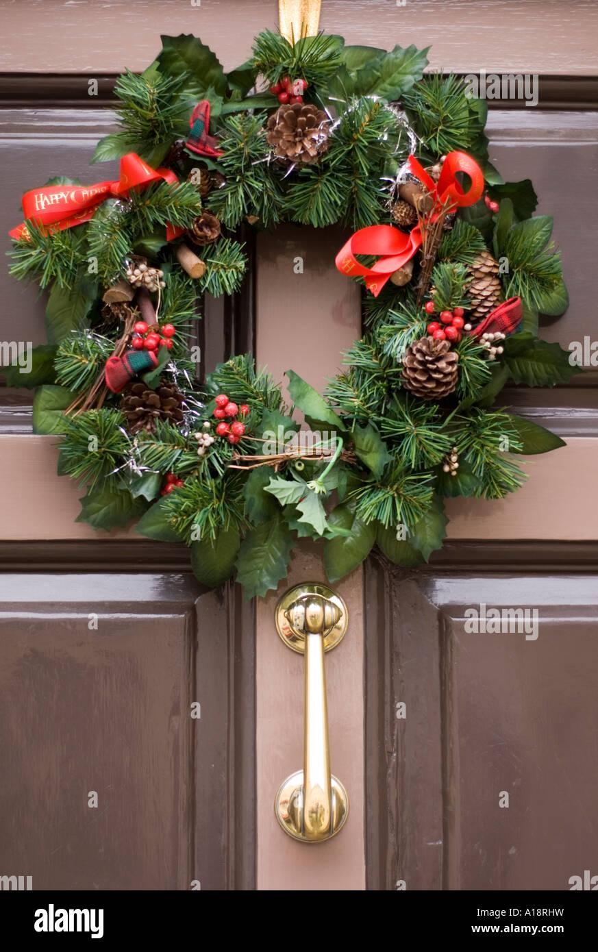 England Uk Christmas Wreath On A Front Door Stock Photo 10181124
