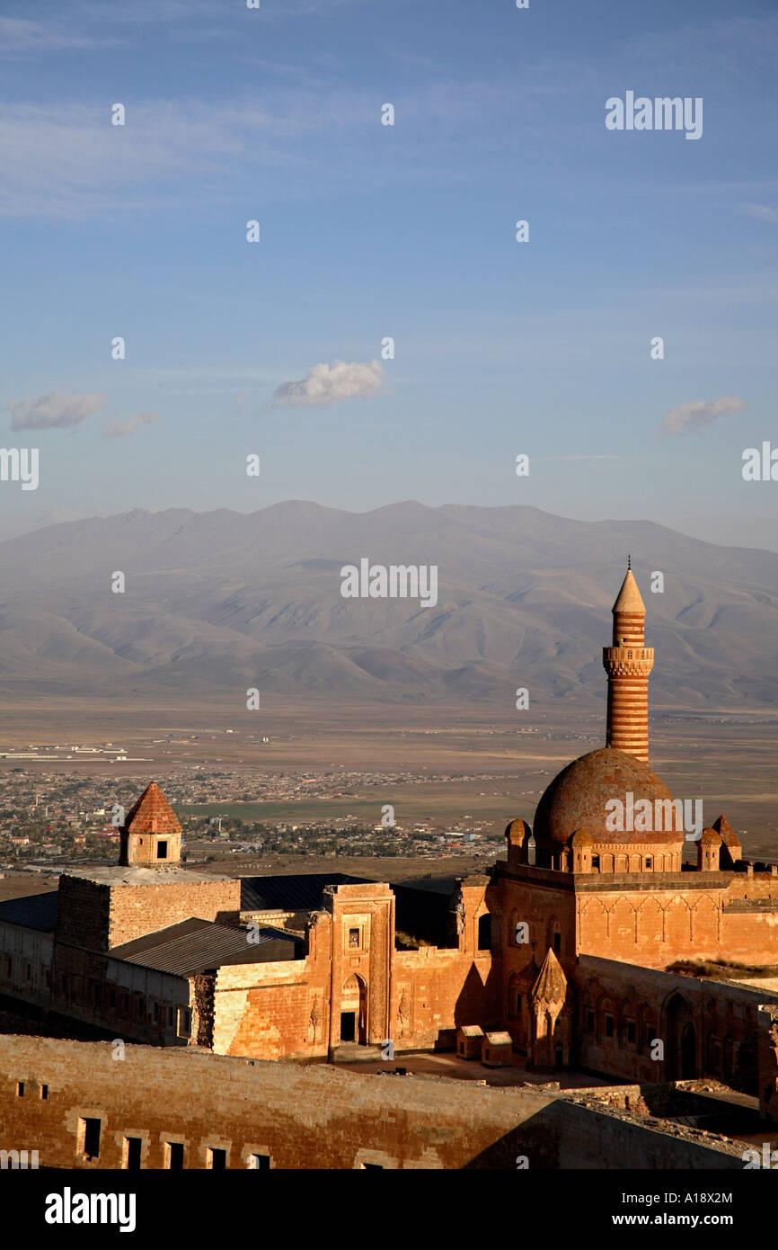 Ishak Pasha Palace with Dogubeyazit in background  Agri
