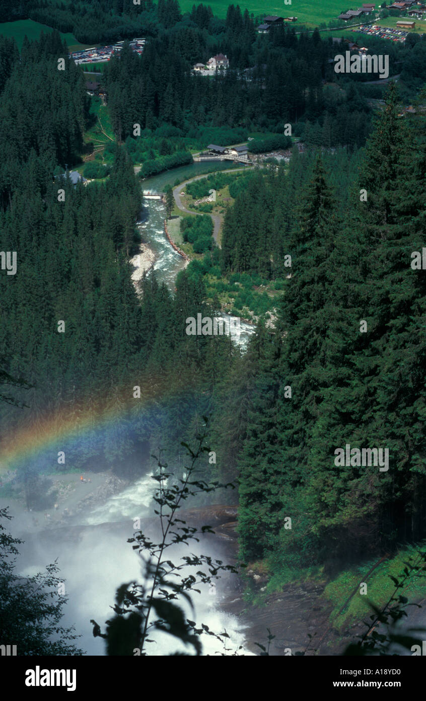 The Krimmer waterfall and Krimmler ache Saltzburg province Austria Stock Photo