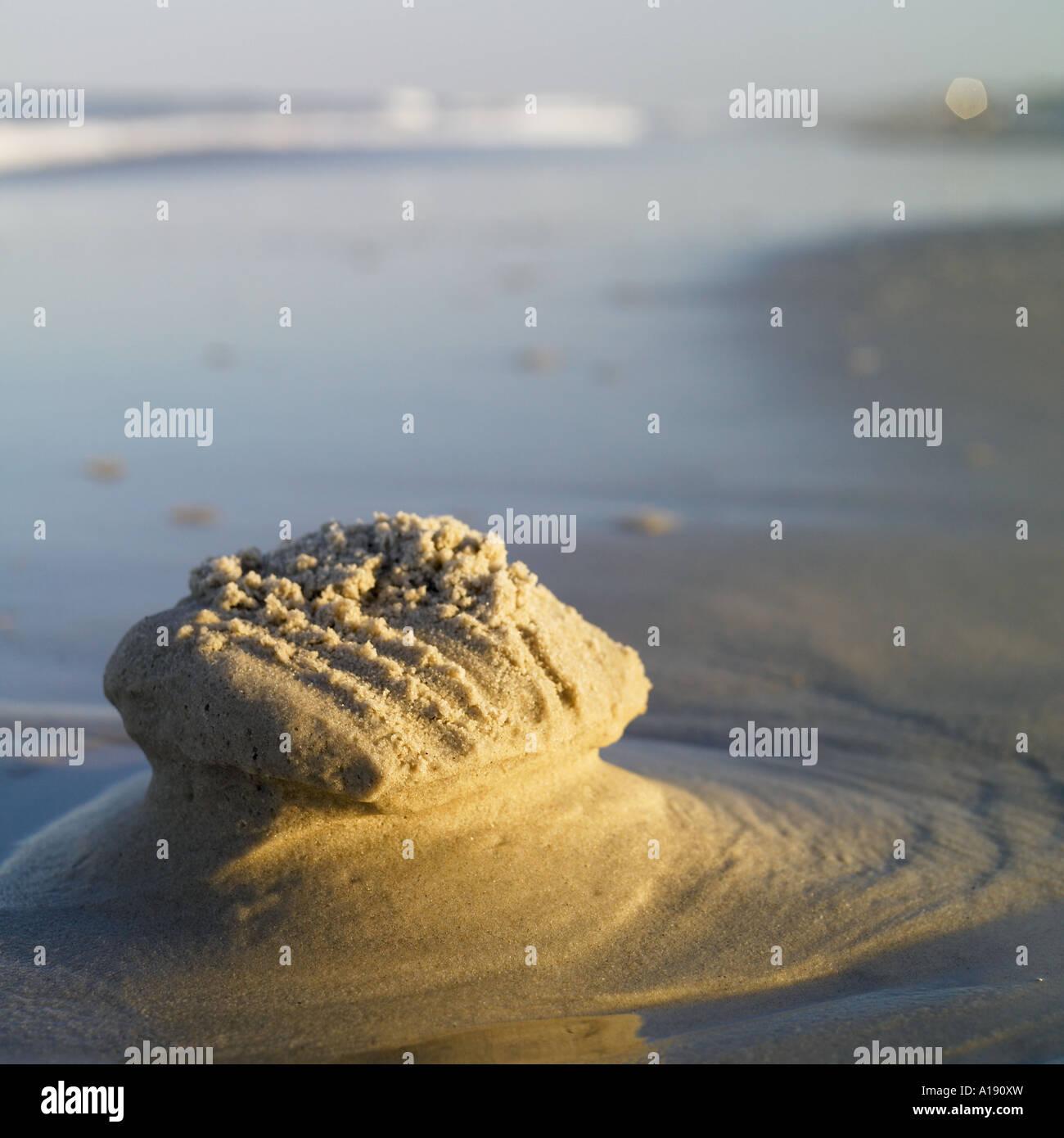 Sand castle remains Stock Photo