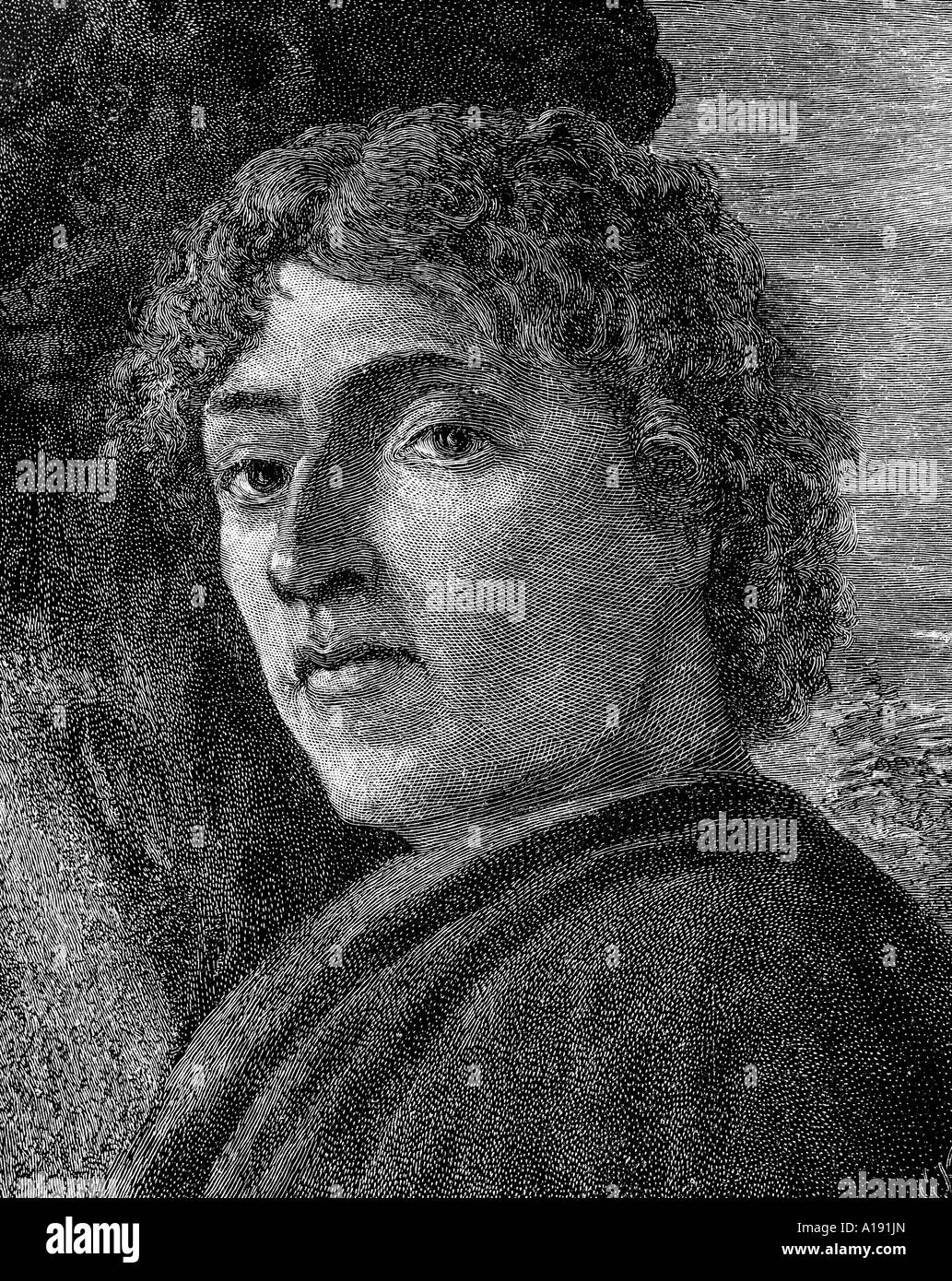 engraving of self portrait by Alessandro Botticelli - Stock Image