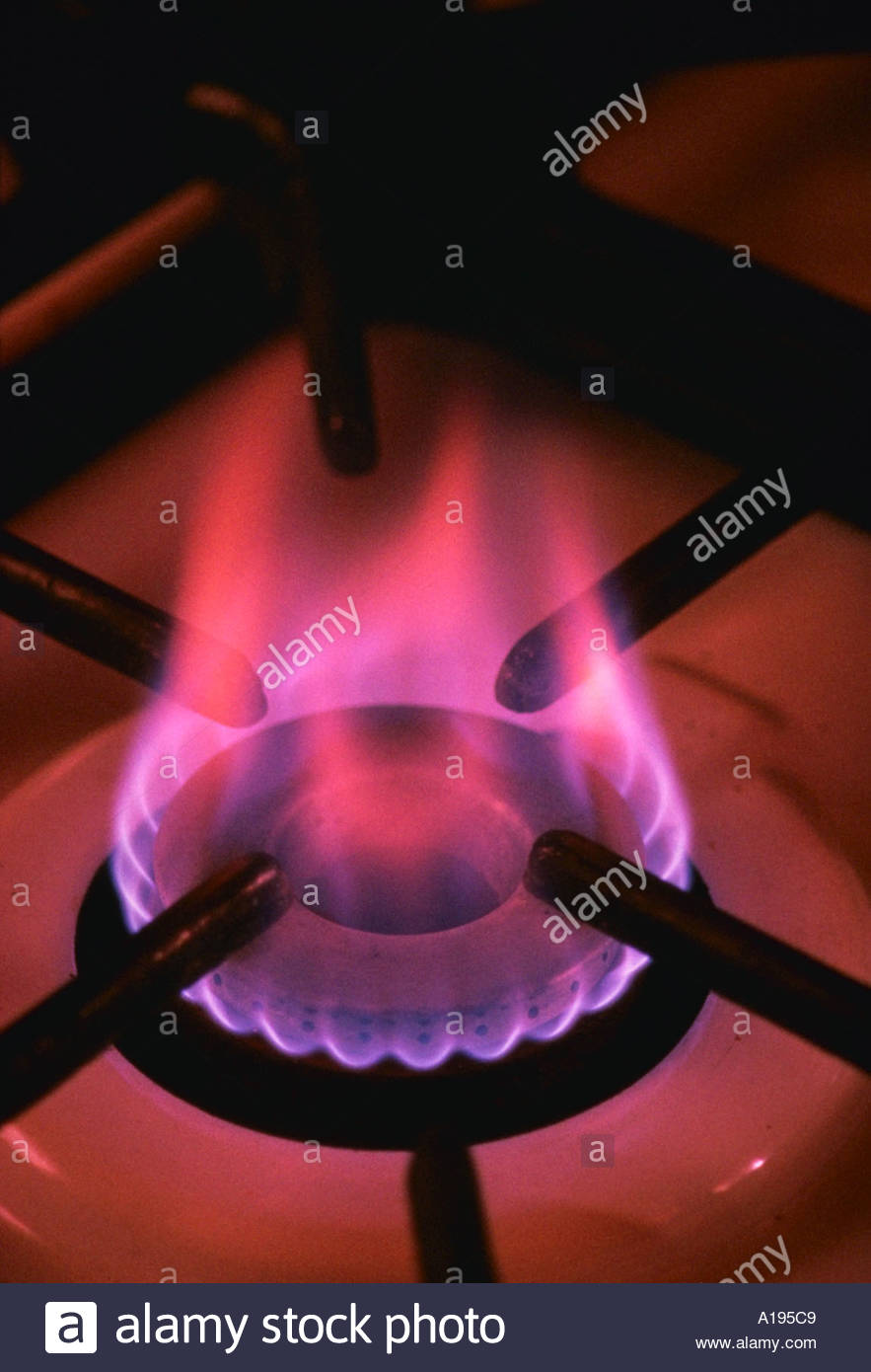 Kitchen stove burner and natural gas flame Stock Photo: 103881 - Alamy