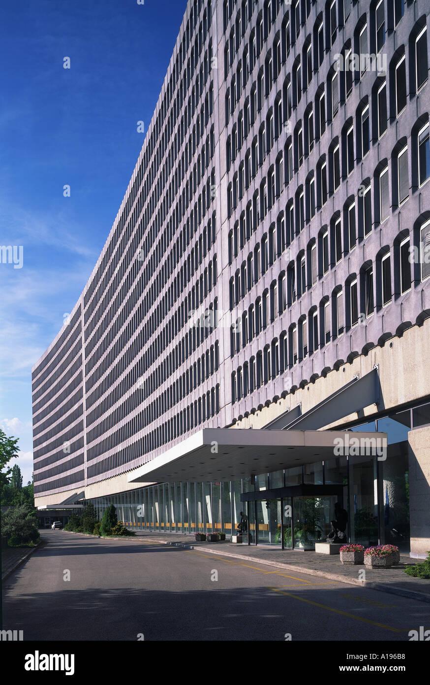 Headquarters of International Labour Organisation ILO exterior Geneva Geneve Switzerland Architect Eugene Baudoin Alberto Camenz - Stock Image