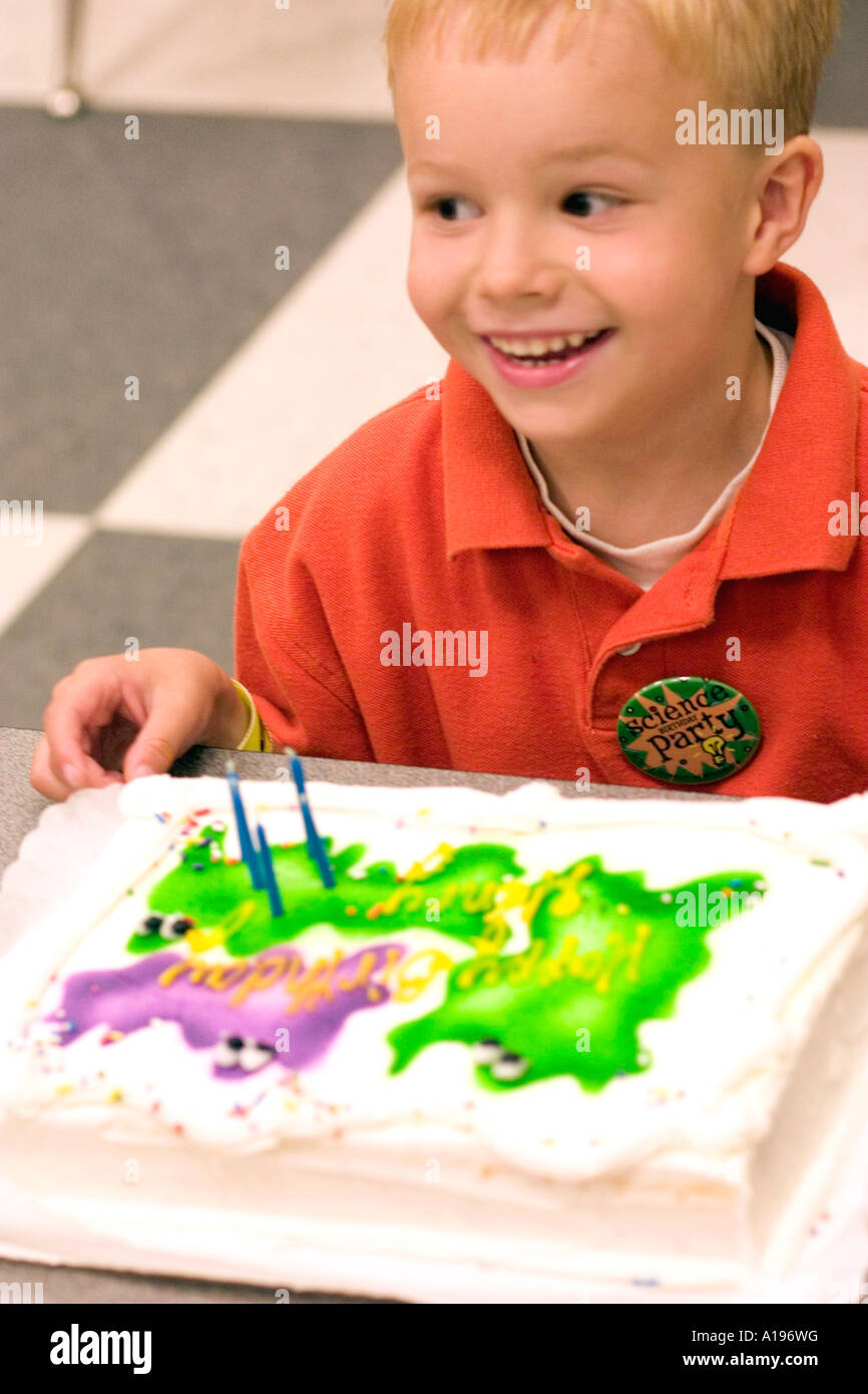 Boy Age 5 Enjoying Ghost Decorated Birthday Cake St Paul Minnesota MN USA