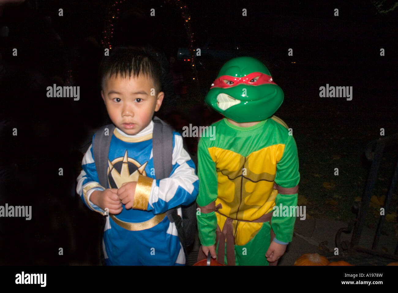 halloween teenage mutant ninja turtle and power ranger asian boys trick and treaters age 5 st paul minnesota mn usa