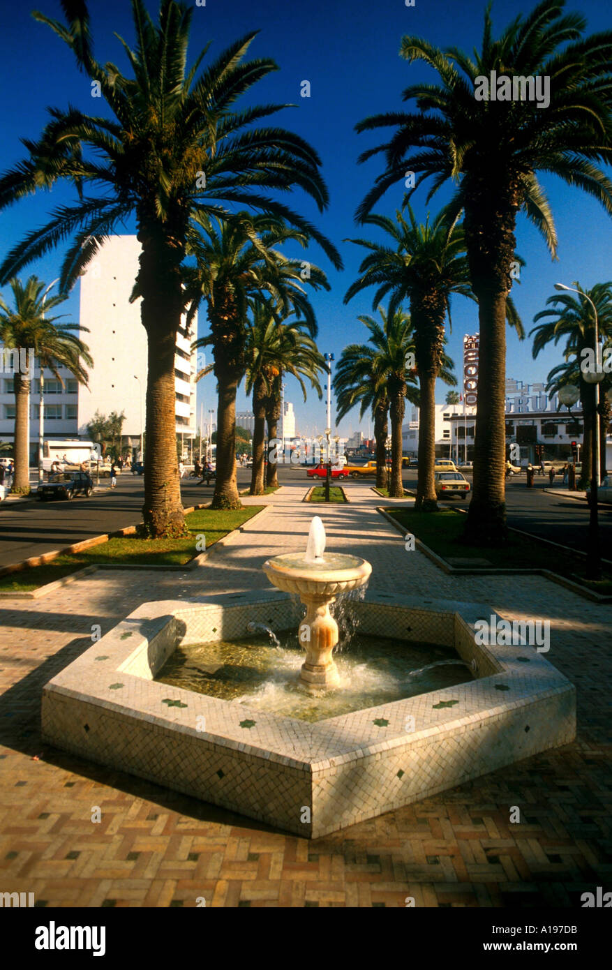 Water fountain and palm trees on the promenade on Boulevard Mohammed el Hansali Casablanca Morocco Africa R Francis - Stock Image