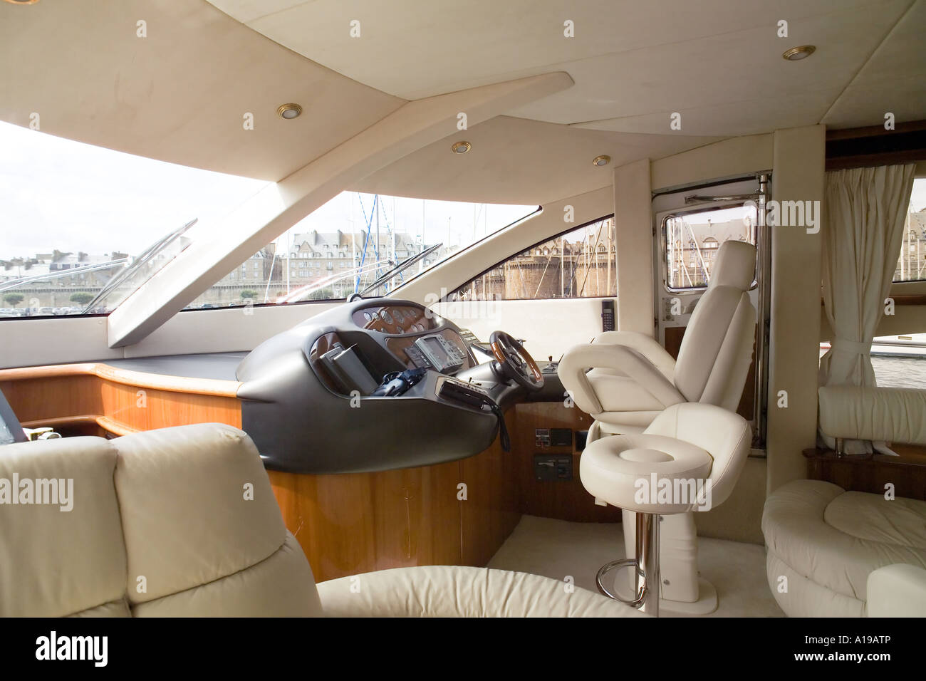 Cockpit of a private luxury yacht Stock Photo