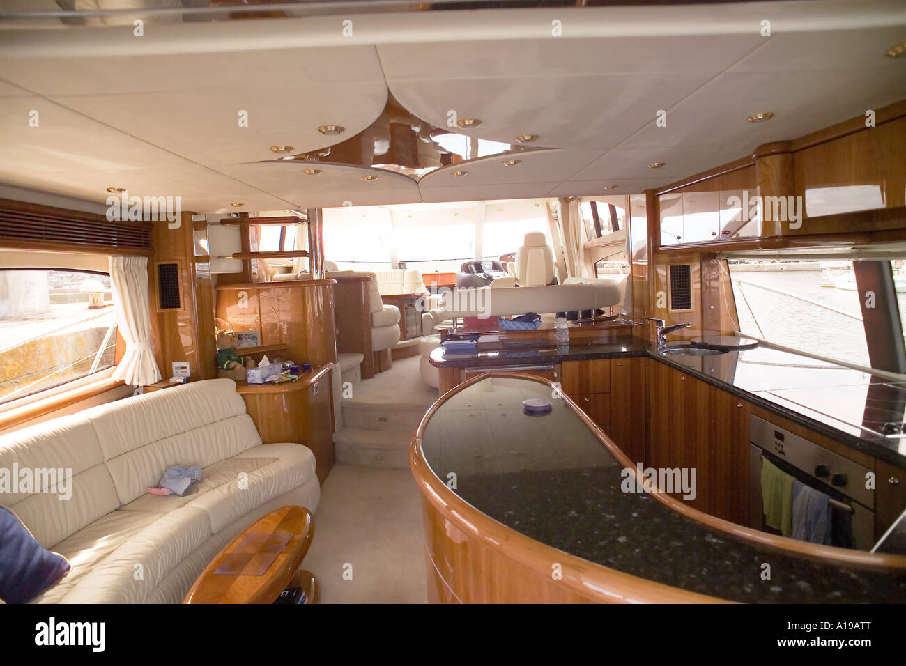 Bar and lounge of a private luxury yacht - Stock Image