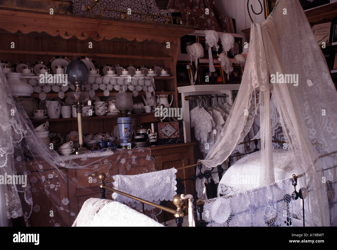 Interior of the Lace Museum shop County Fermanagh Northern Ireland - Stock Image
