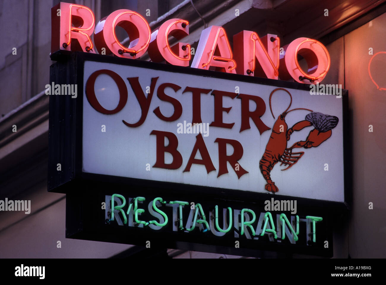 Sign outside Rogano Glasgow restaurant and oyster bar famed for its sea food - Stock Image