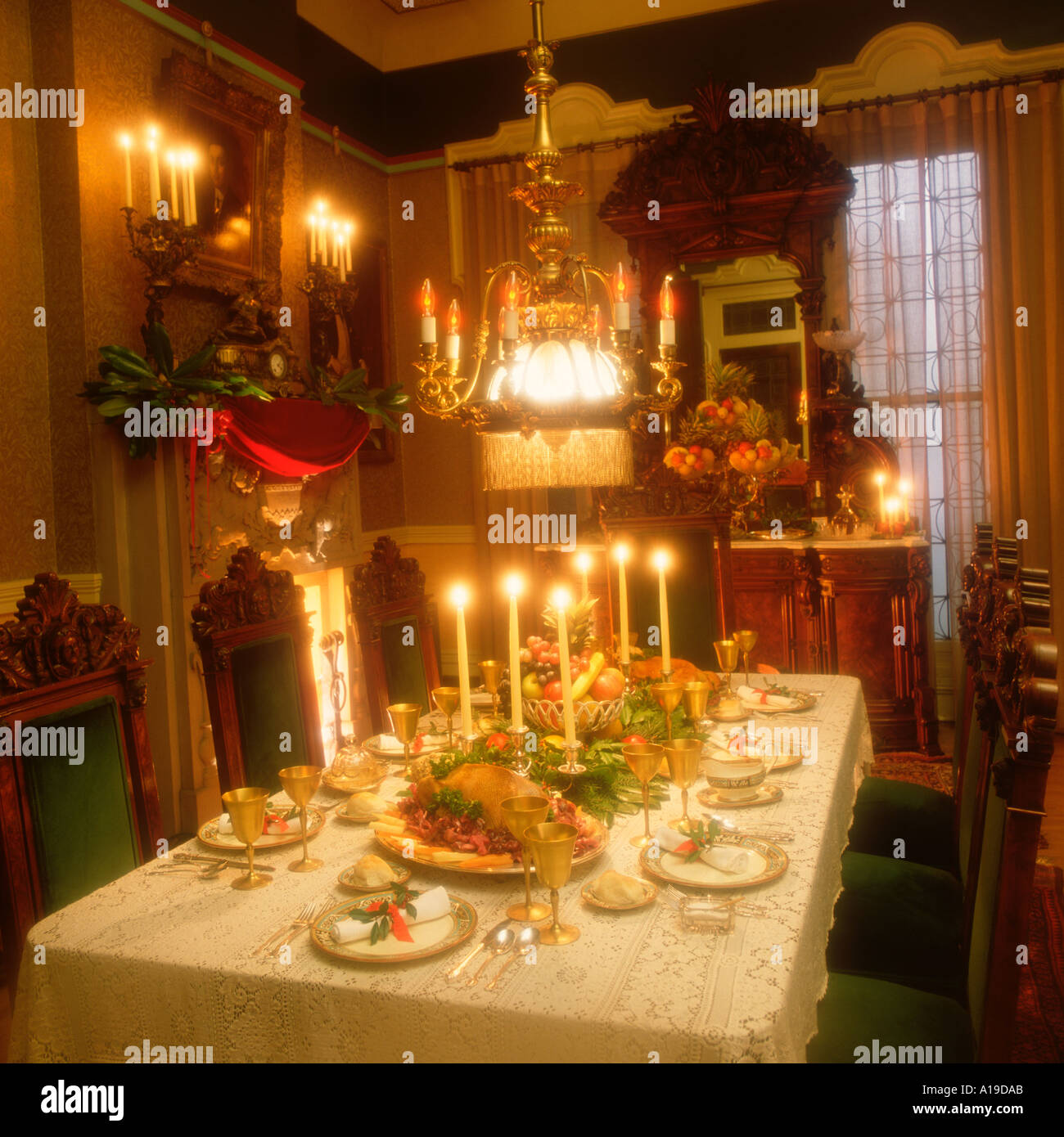 Victorian Christmas Dinner Table Setting Stock Photo