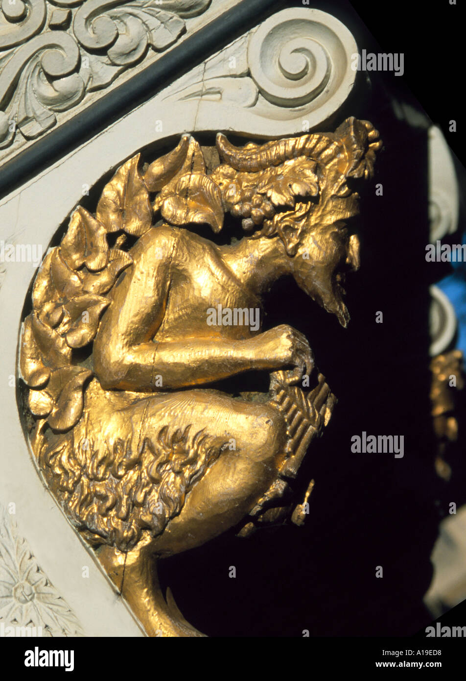 Wall carving of Pan, Oxford - Stock Image