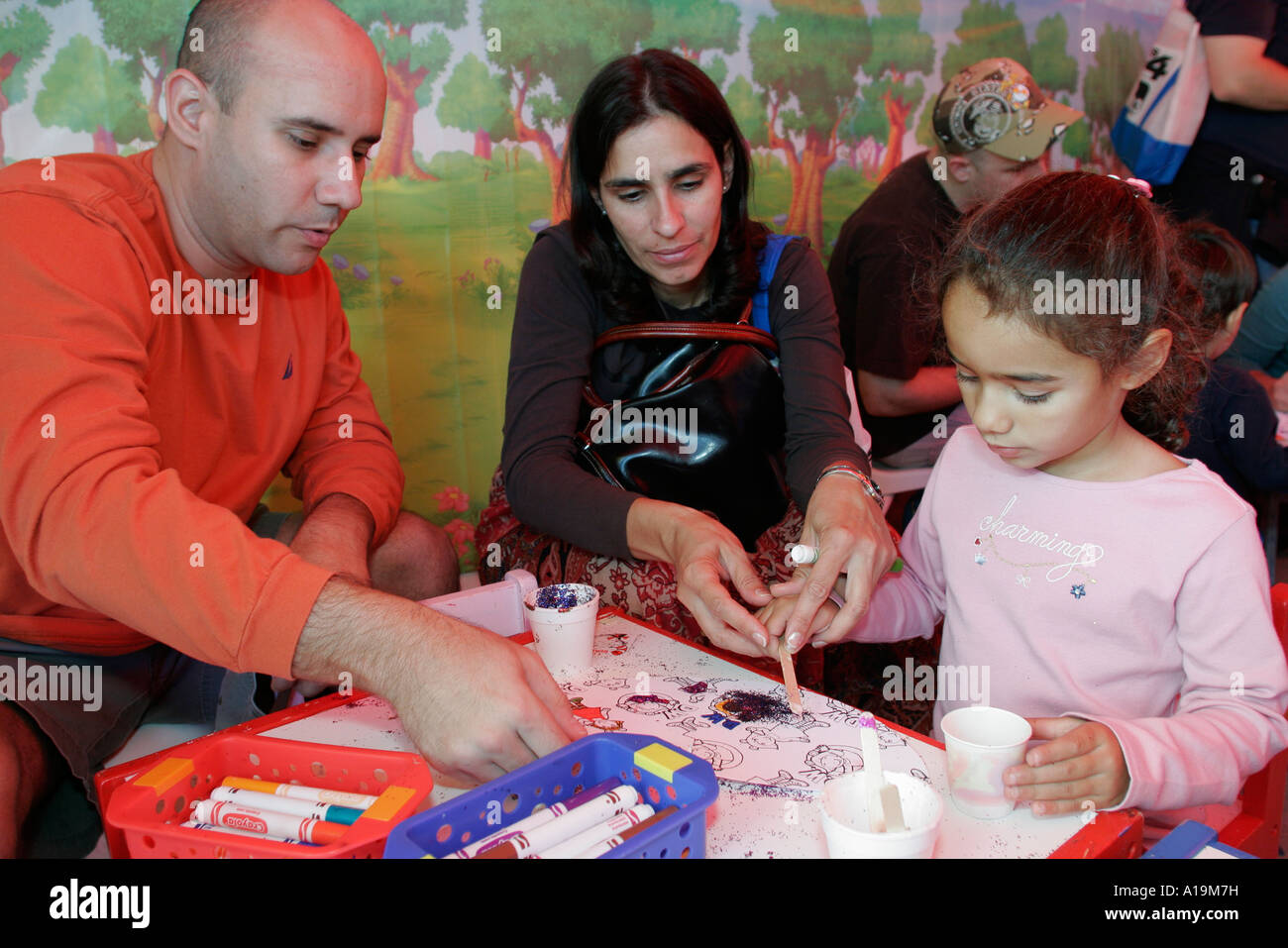 MiamiMiami Florida Dade Community College Wolfson Campus Book Fair International Mid East family girl crafts - Stock Image
