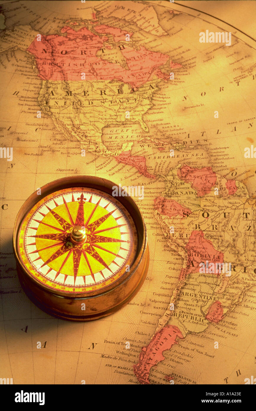 America Map With Compass.Still Life Of A Compass Sitting On An Old Map Of North And South