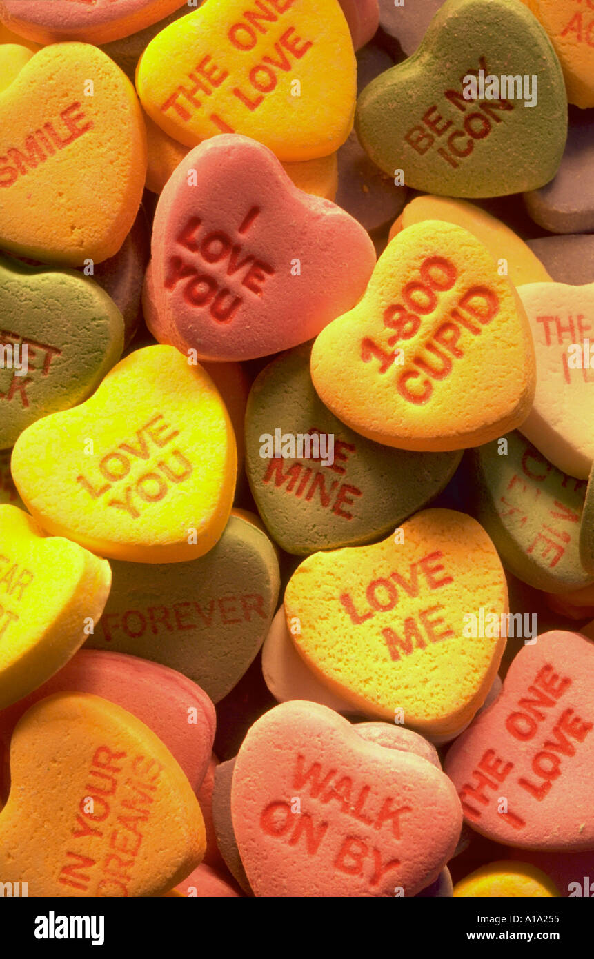 Close Up Still Life Of A Pile Of Valentine S Day Candy Hearts With