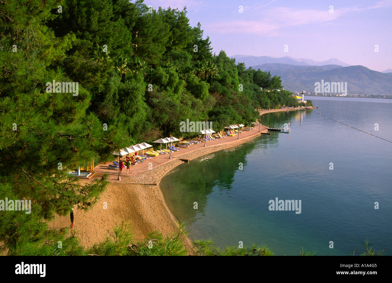 Lovely beach at the Hotel Club Letoonia in Fethiye - Stock Image