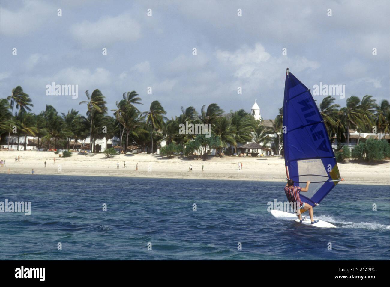 Windsurfing near Serena Beach Hotel Kenya coast East Africa - Stock Image