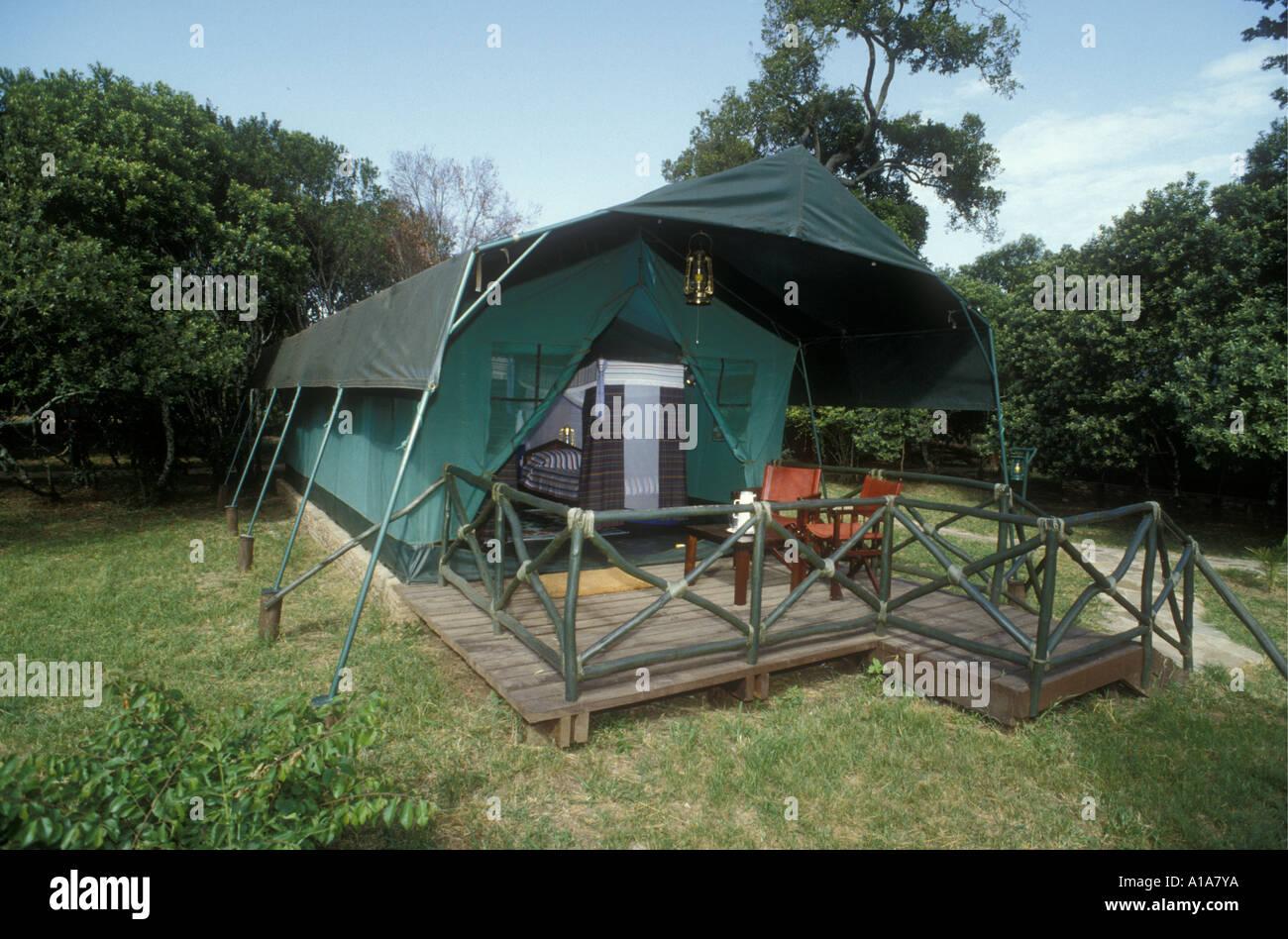 Spacious luxury tent at Mara Safari Club on the northern side of Masai Mara National Reserve Kenya East Africa - Stock Image