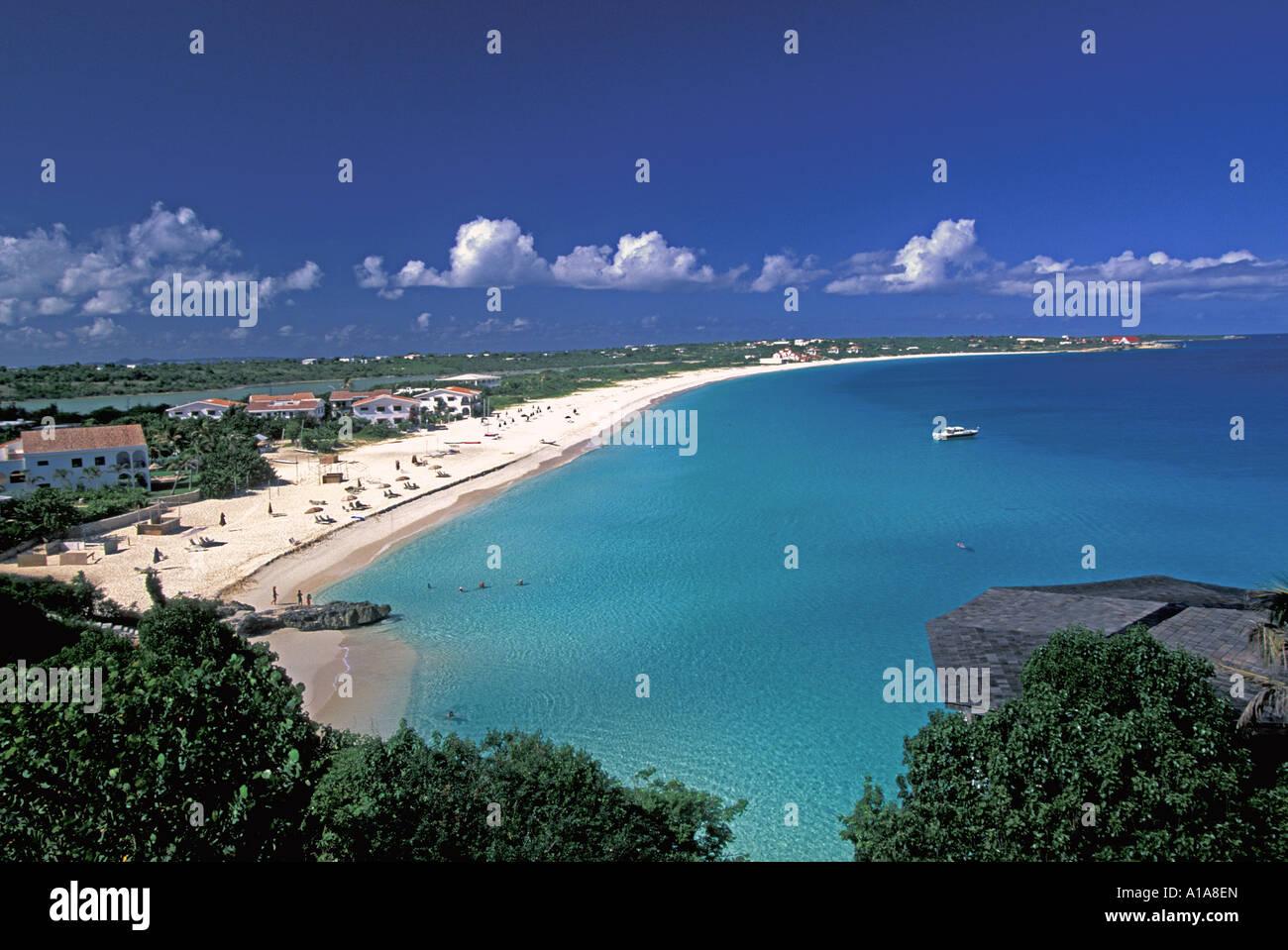 Caribbean Anguilla beach scenic landscape above Mead's Bay beach - Stock Image
