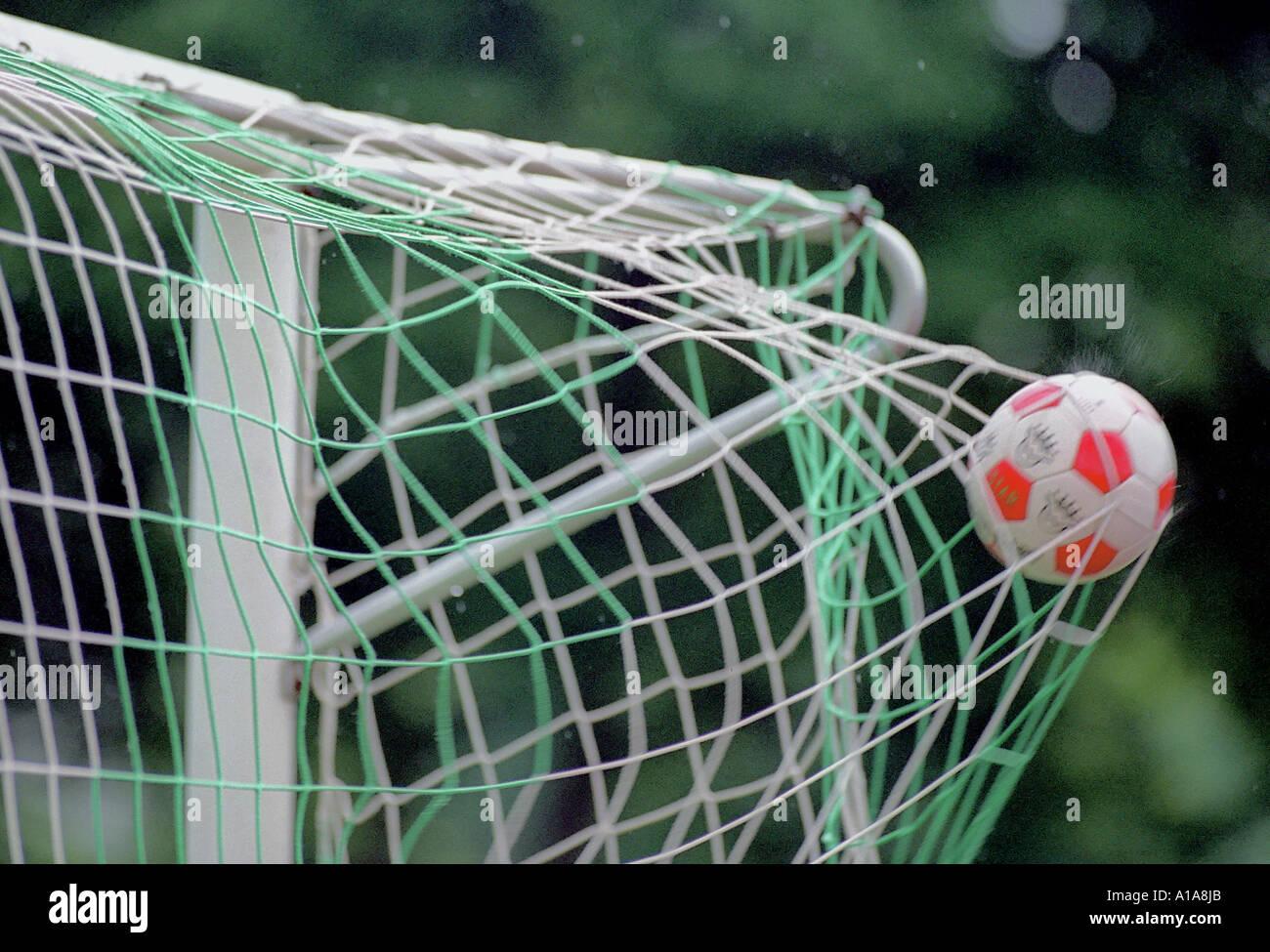 Ball In Football Goal Ball Im Fussballtor Stock Photo