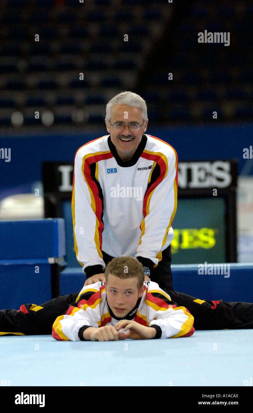 Wolfgang HAMBUeCHEN, father and coach of Fabian HAMBUeCHEN GER at the Gymnastics World Cup in Stuttgart 2006 supports - Stock Image