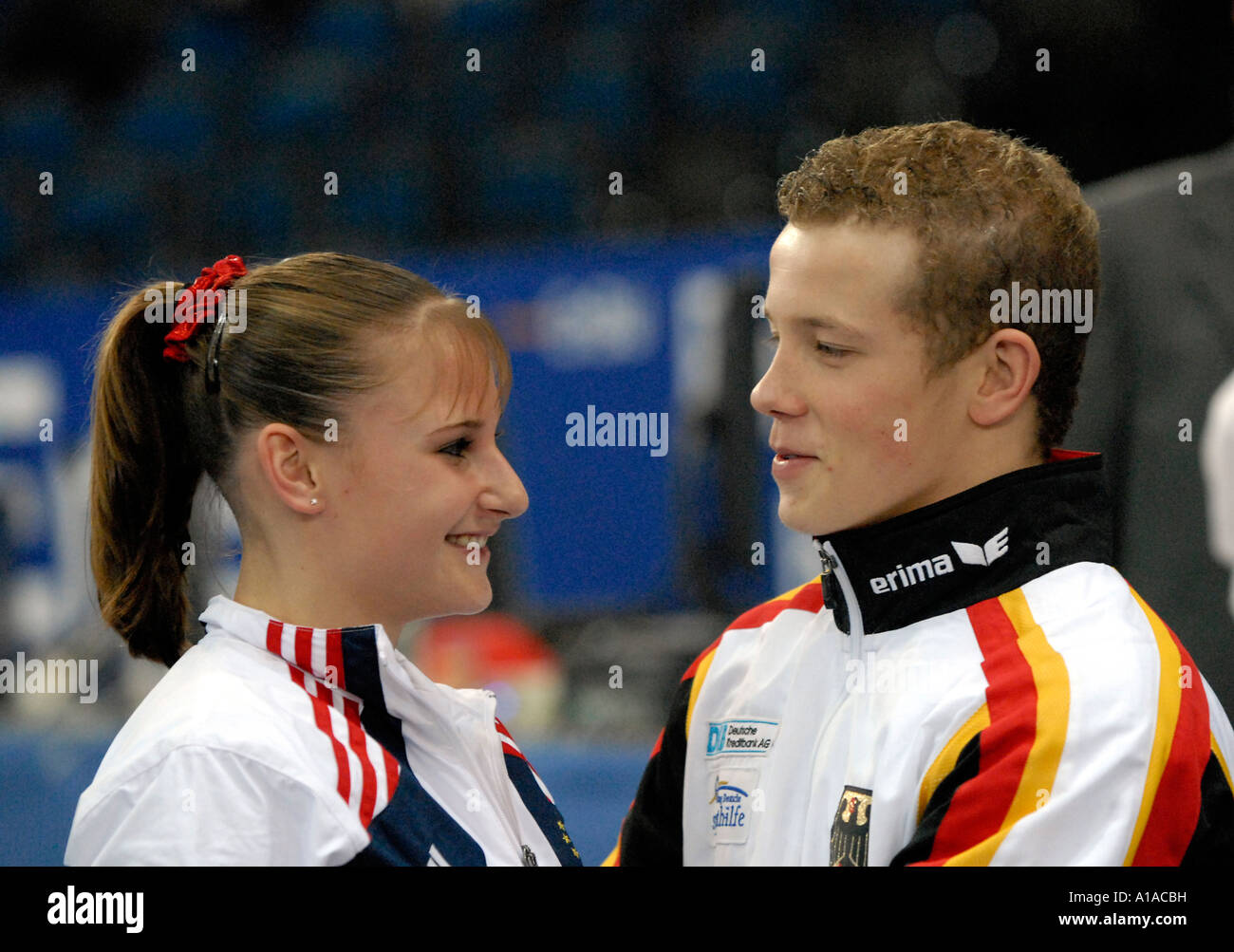 Fabian HAMBUeCHEN GER Flirting With Jana BIEGER USA At The Gymnastics World Cup In Stuttgart 2006