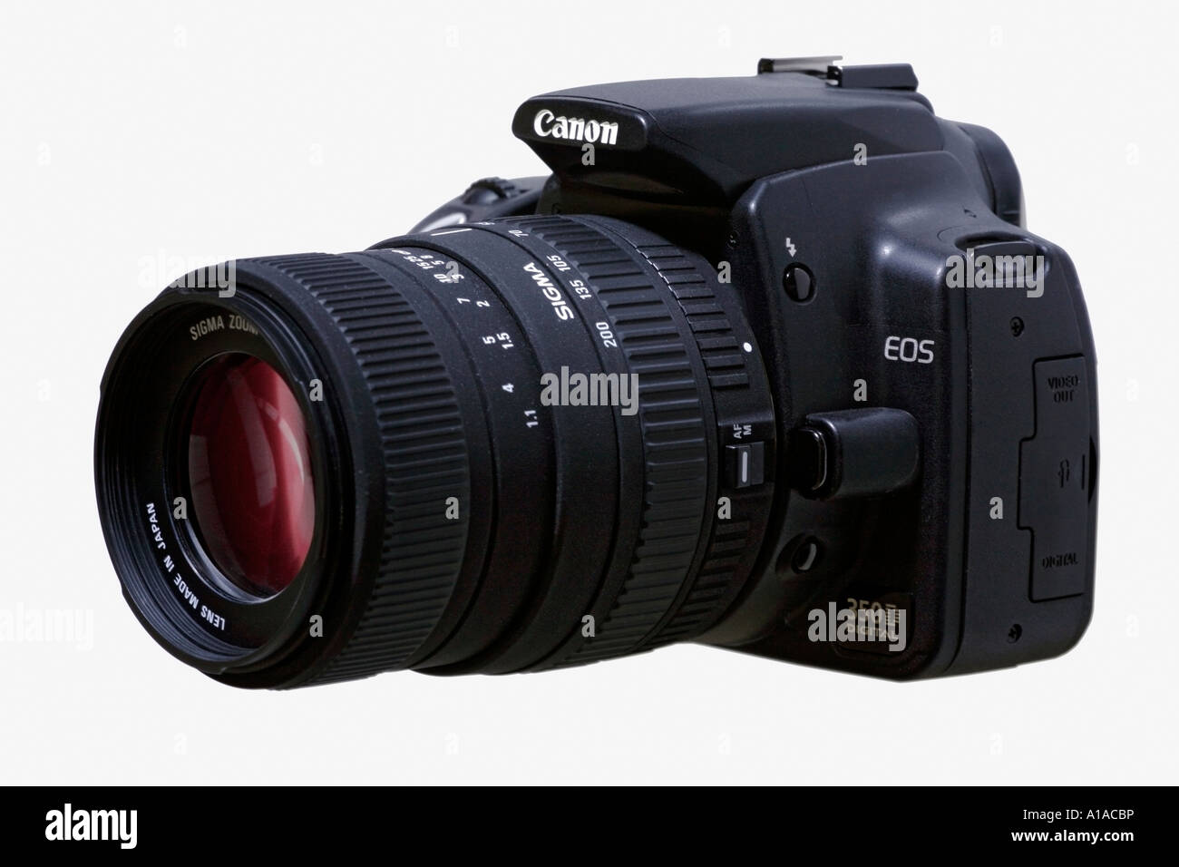Digital camera Canon Eos 350 D with Sigma zoom on white background Stock Photo