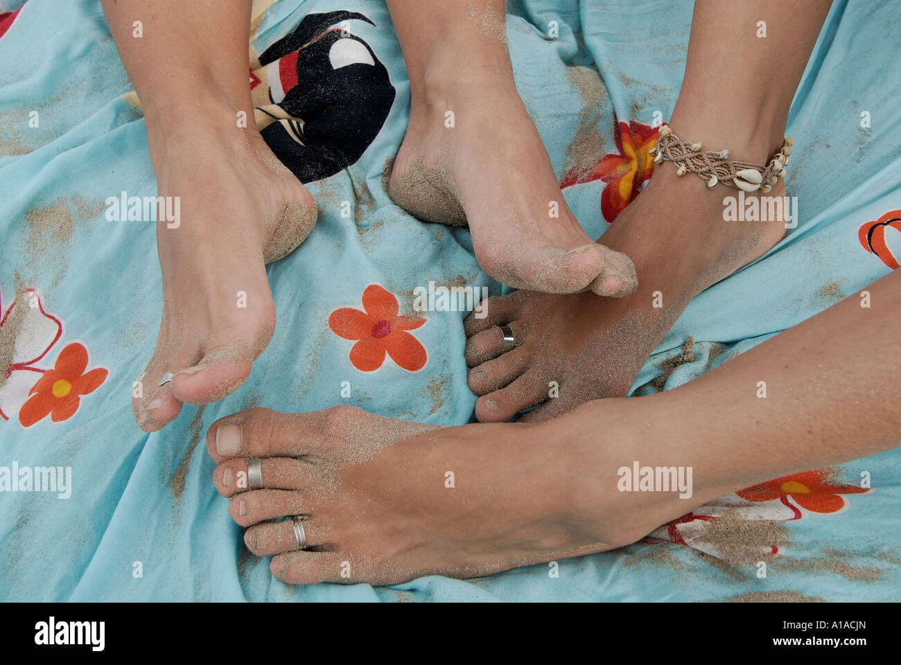 Toe rings and anklets worn by Neo-hippies , Ibiza , Balearis Islands , Spain , Europe - Stock Image