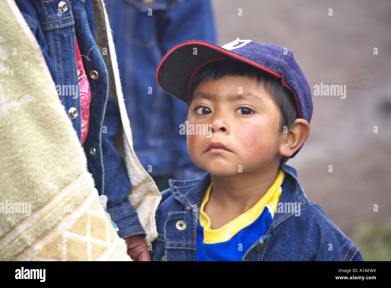 GUATEMALA CAPELLANIA Young indigenous Maya Ixil boy with an attitude - Stock Image