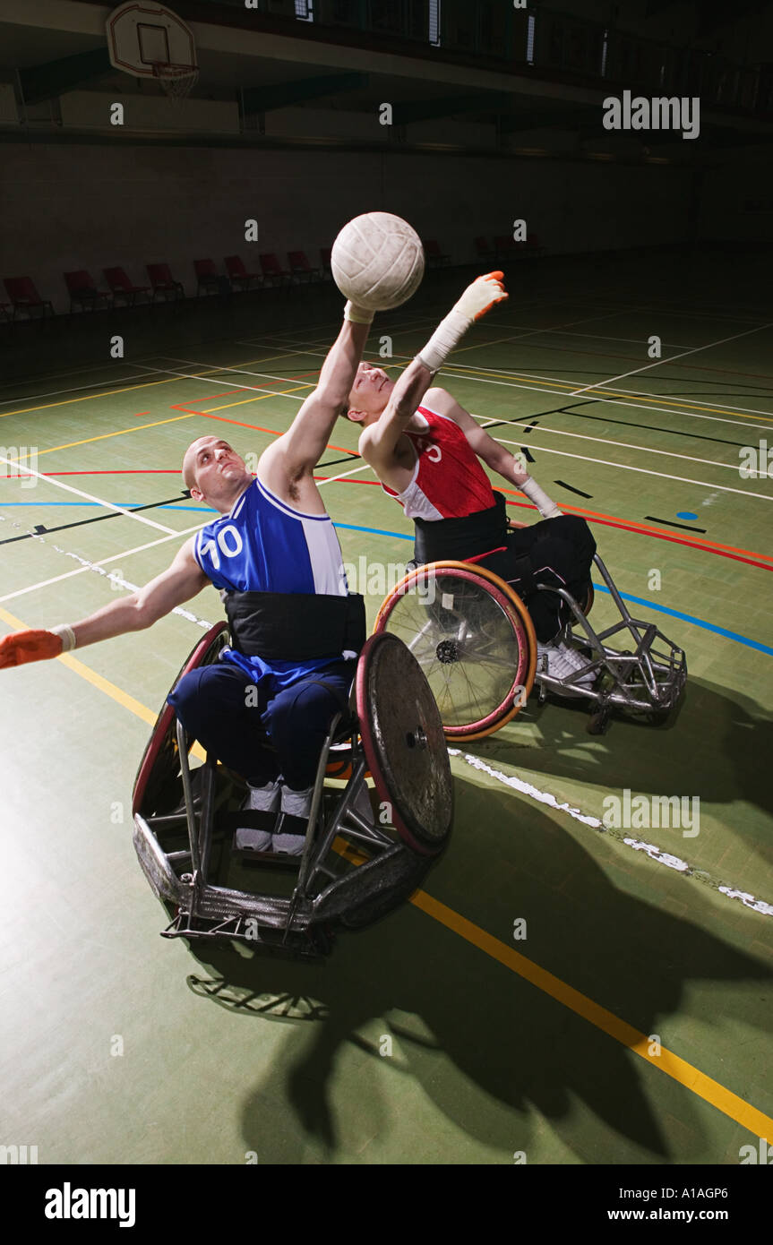 Men playing quad rugby - Stock Image